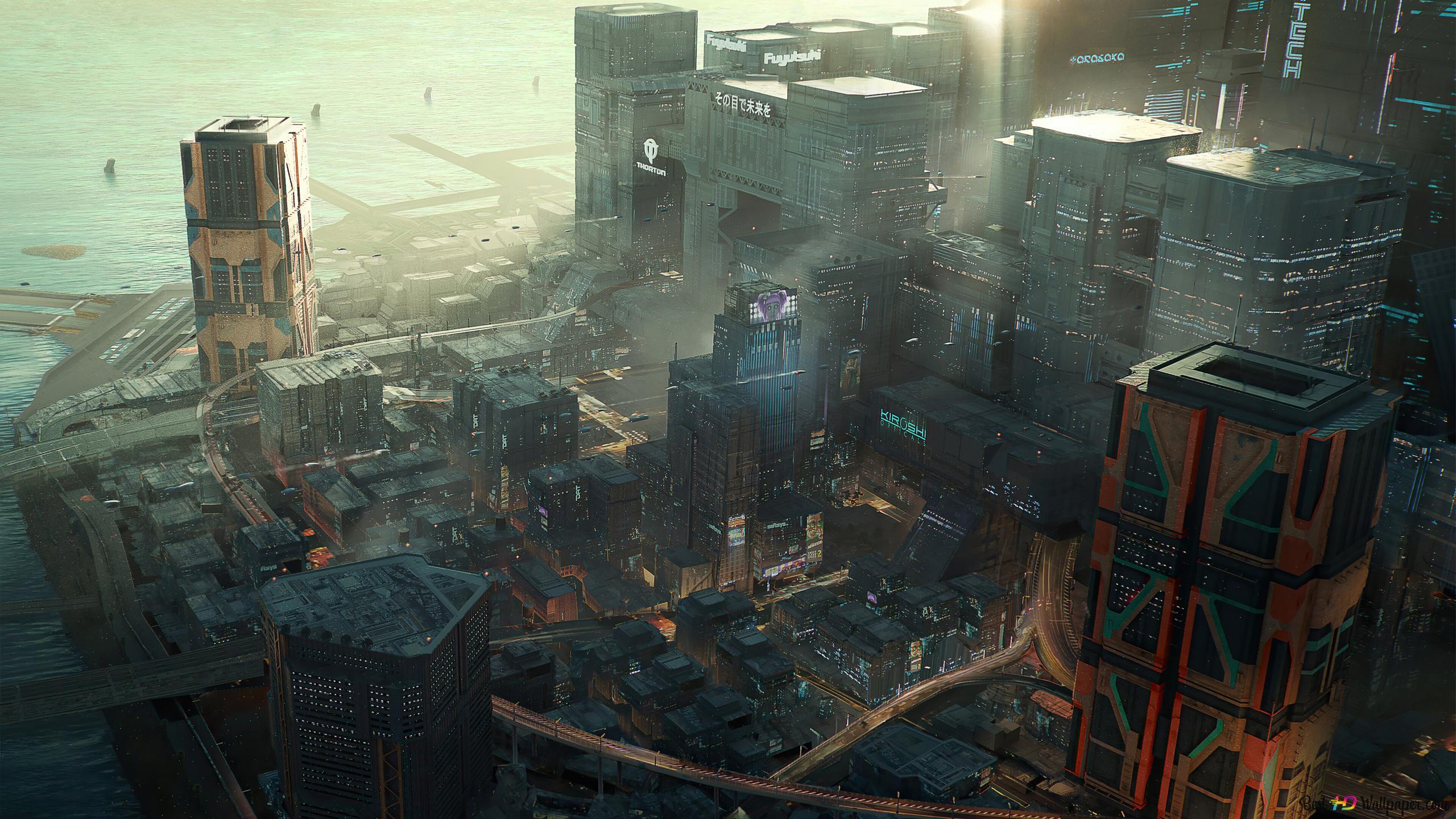 Cyberpunk 2077 Video Game Night City Concept Art Hd Wallpaper Download