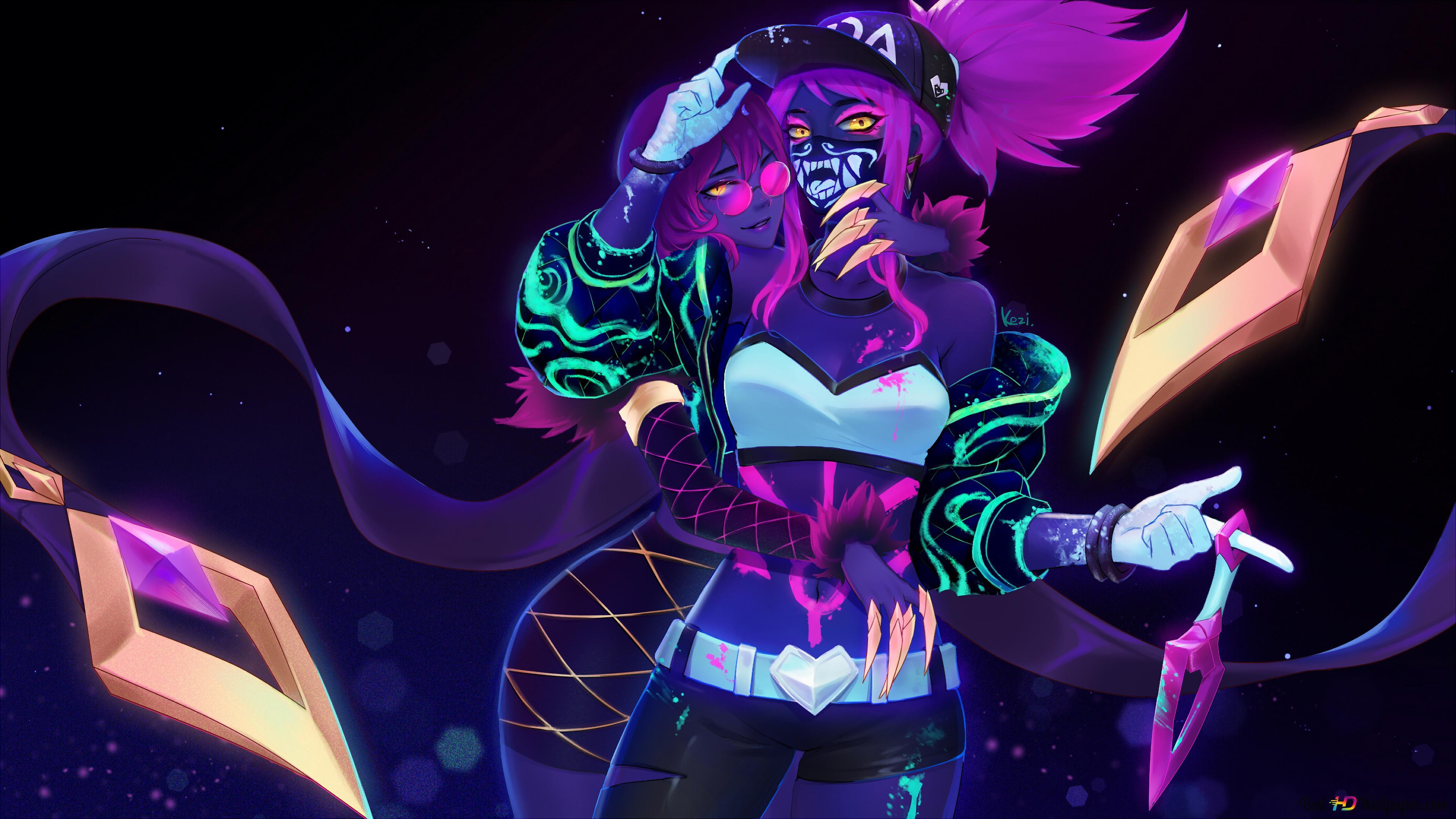 Lol League Of Legends Evelynn Hugs Neon K Da Akali Hd Wallpaper