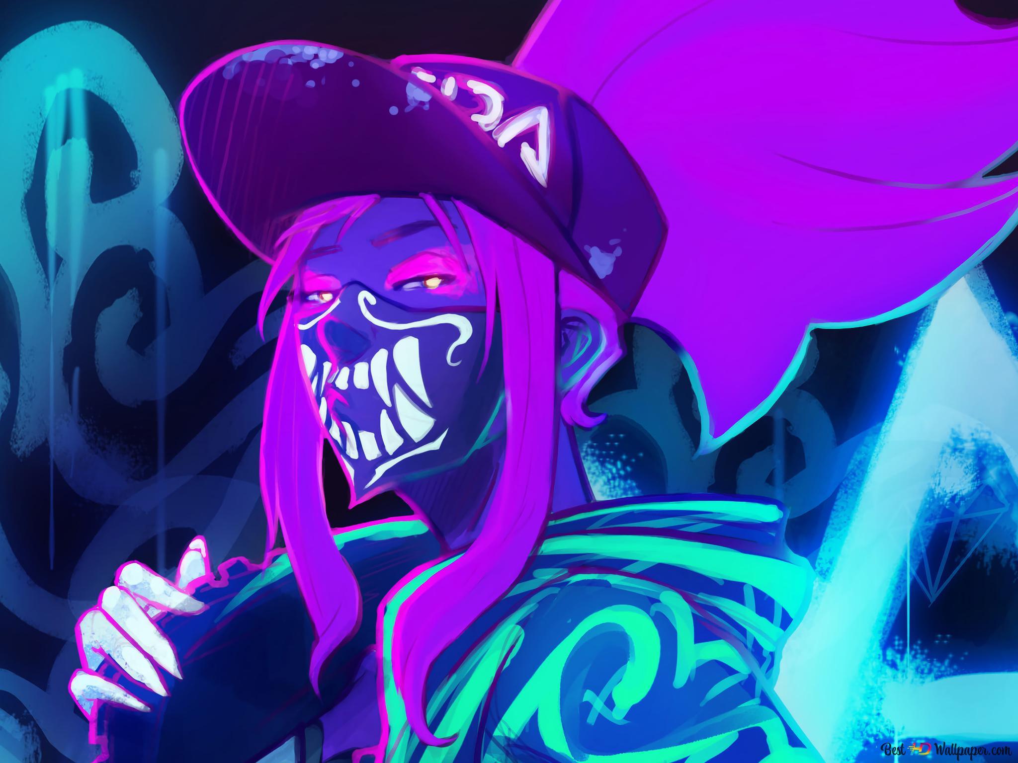Lol League Of Legends Neon K Da Akali Hd Wallpaper Download