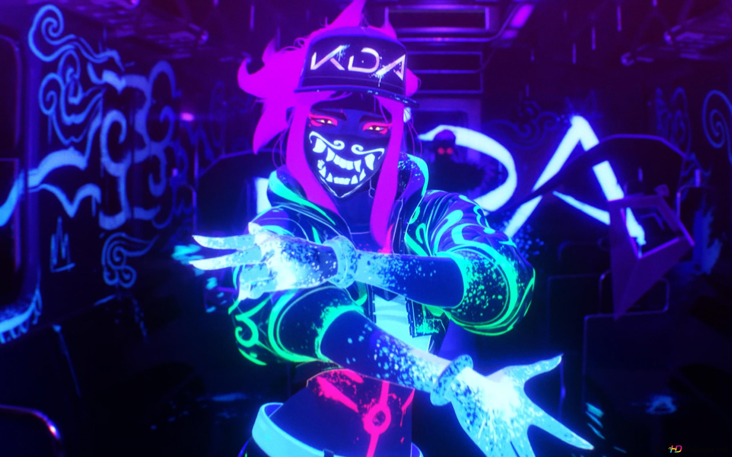 Lol League Of Legends Popstar K Da Akali Neon Hd Wallpaper Download