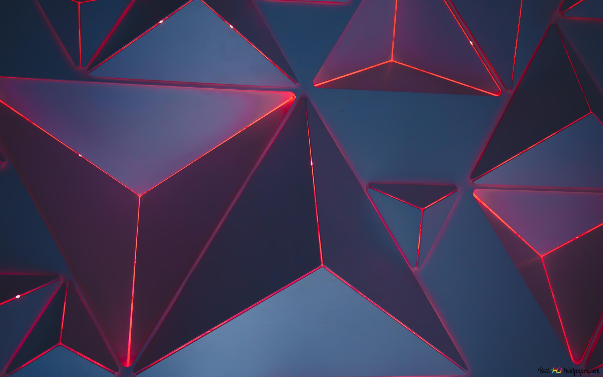 3D sarkans neona trīsstūri HD tapetes ...