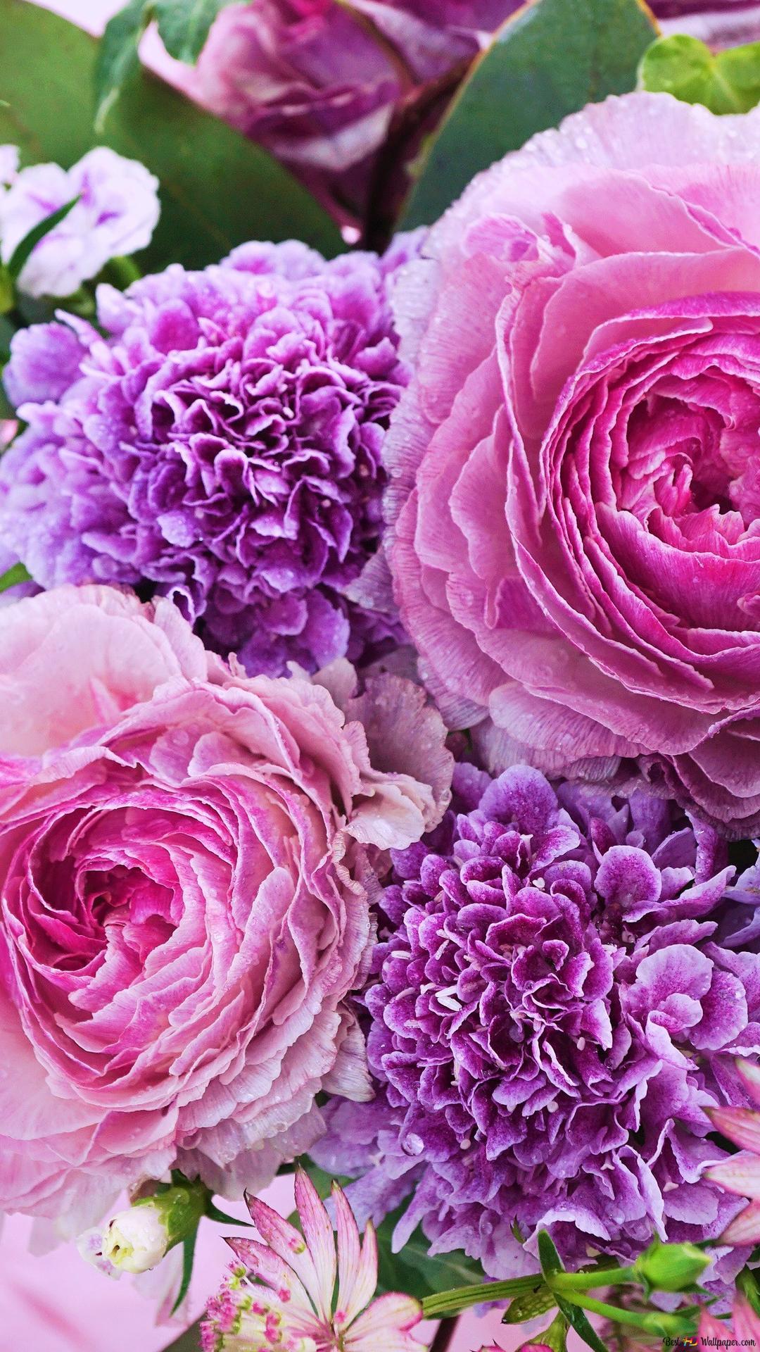 A Bouquet Of Pink Flowers Hd Wallpaper Download