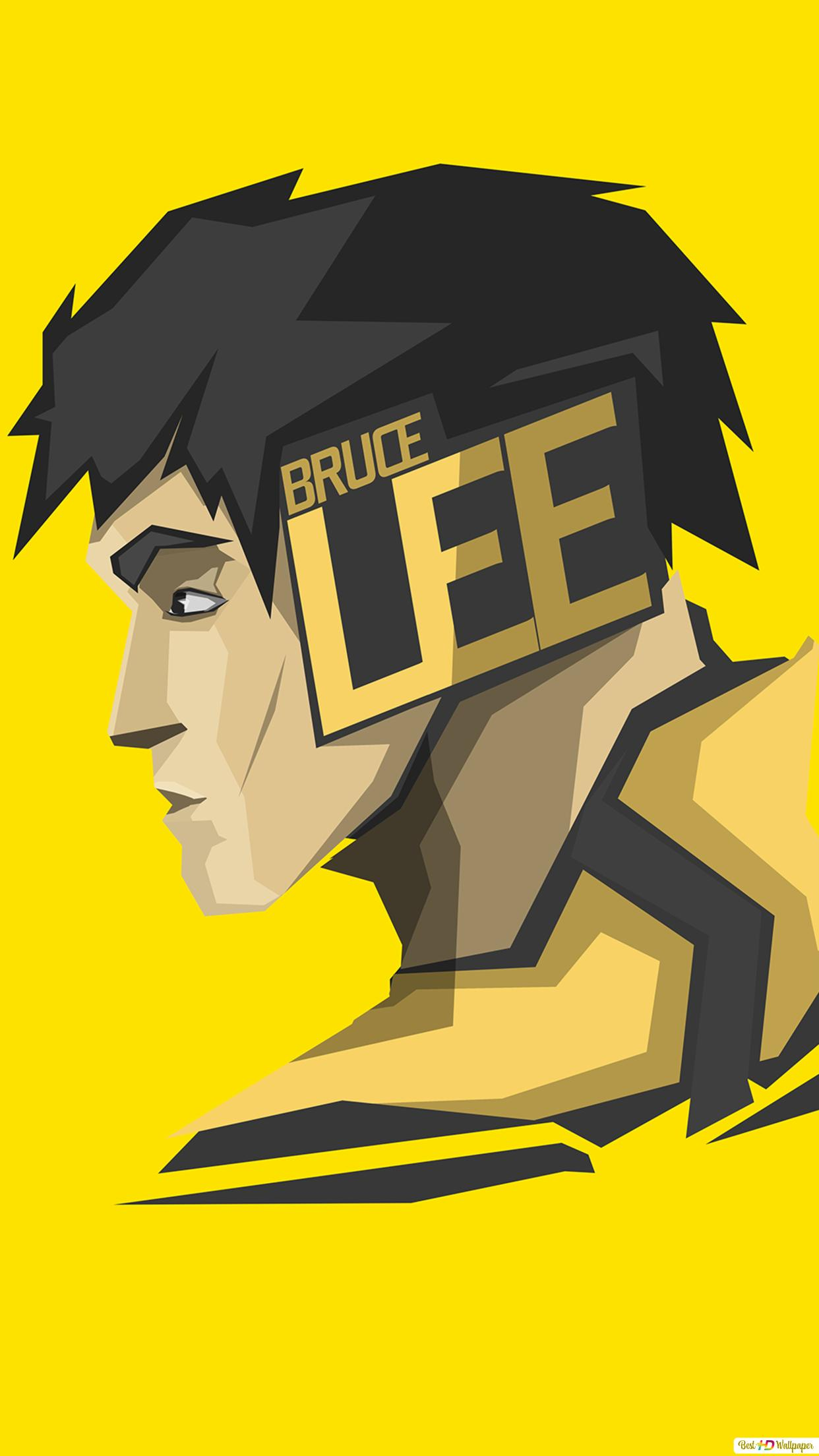 Actor And Martial Artist Bruce Lee Minimalist In Yellow Wallpaper