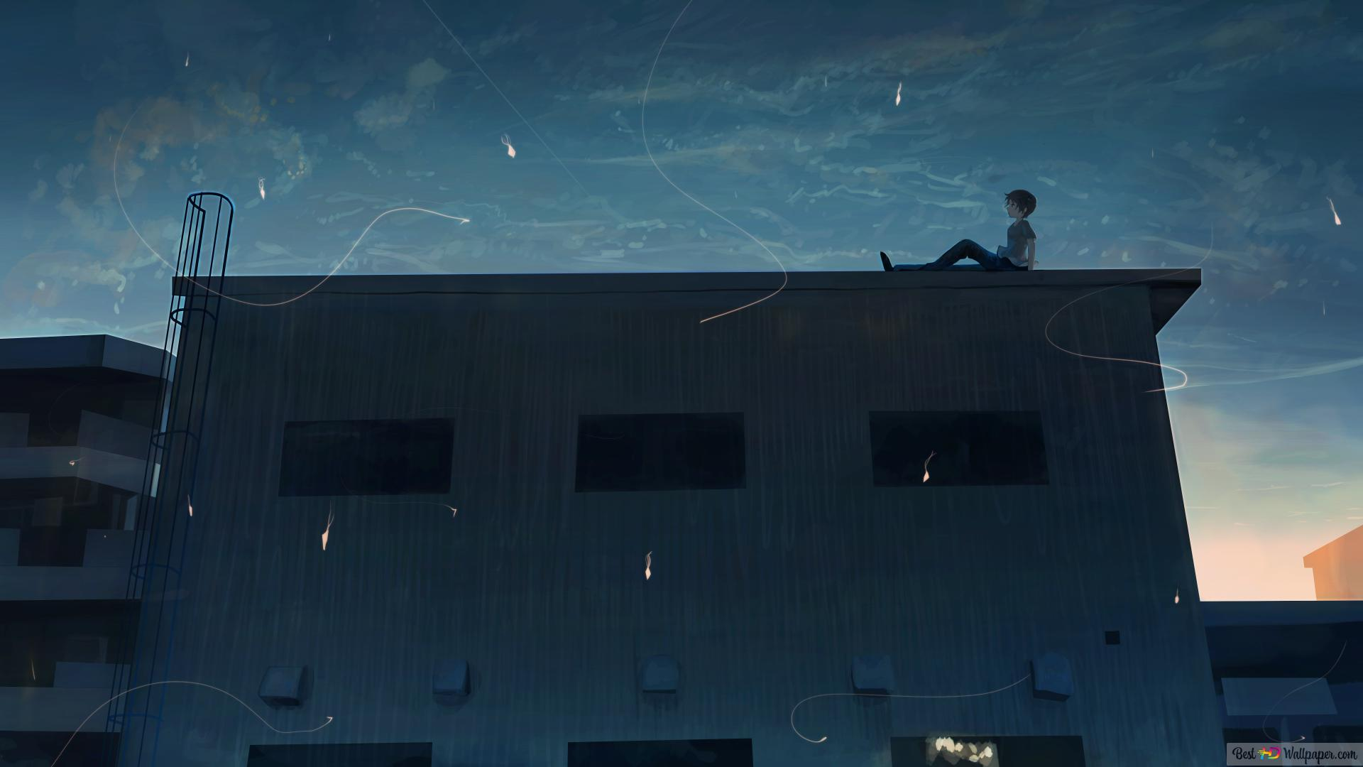 Anime Boy Sitting In The Roof Hd Wallpaper Download