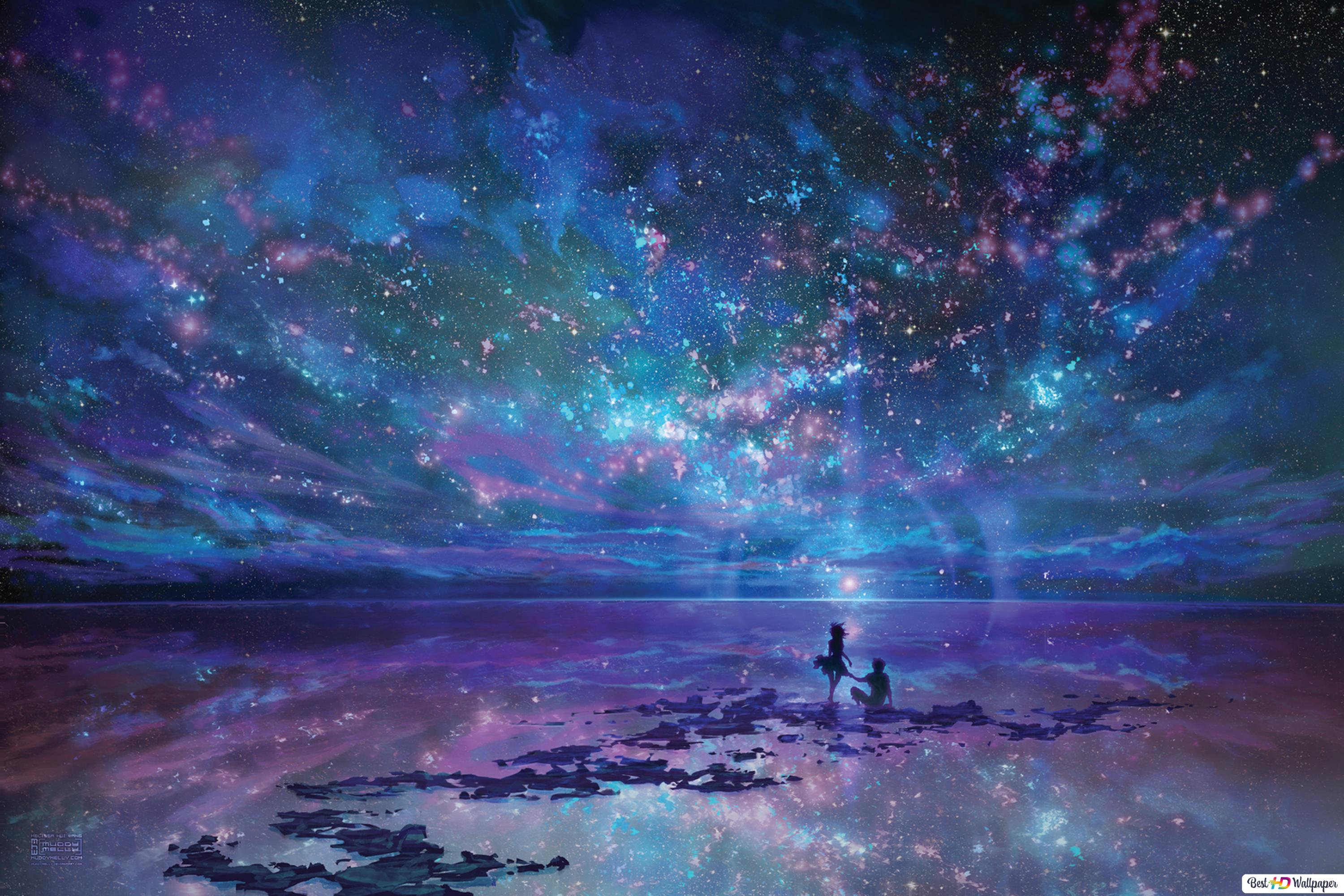 Anime Couple Looking At Amazing Sky Hd Wallpaper Download