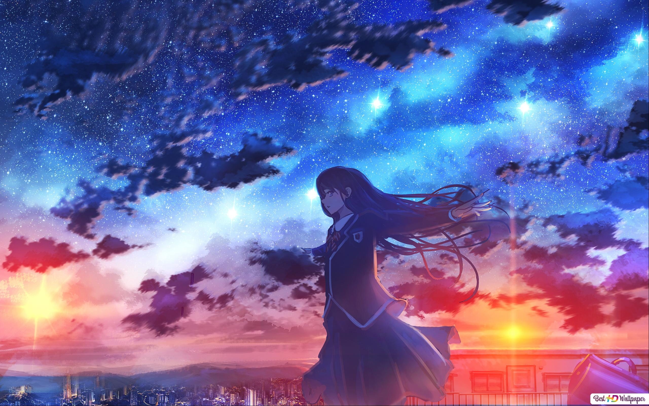 Anime Girl Sunset And Sky Hd Wallpaper Download
