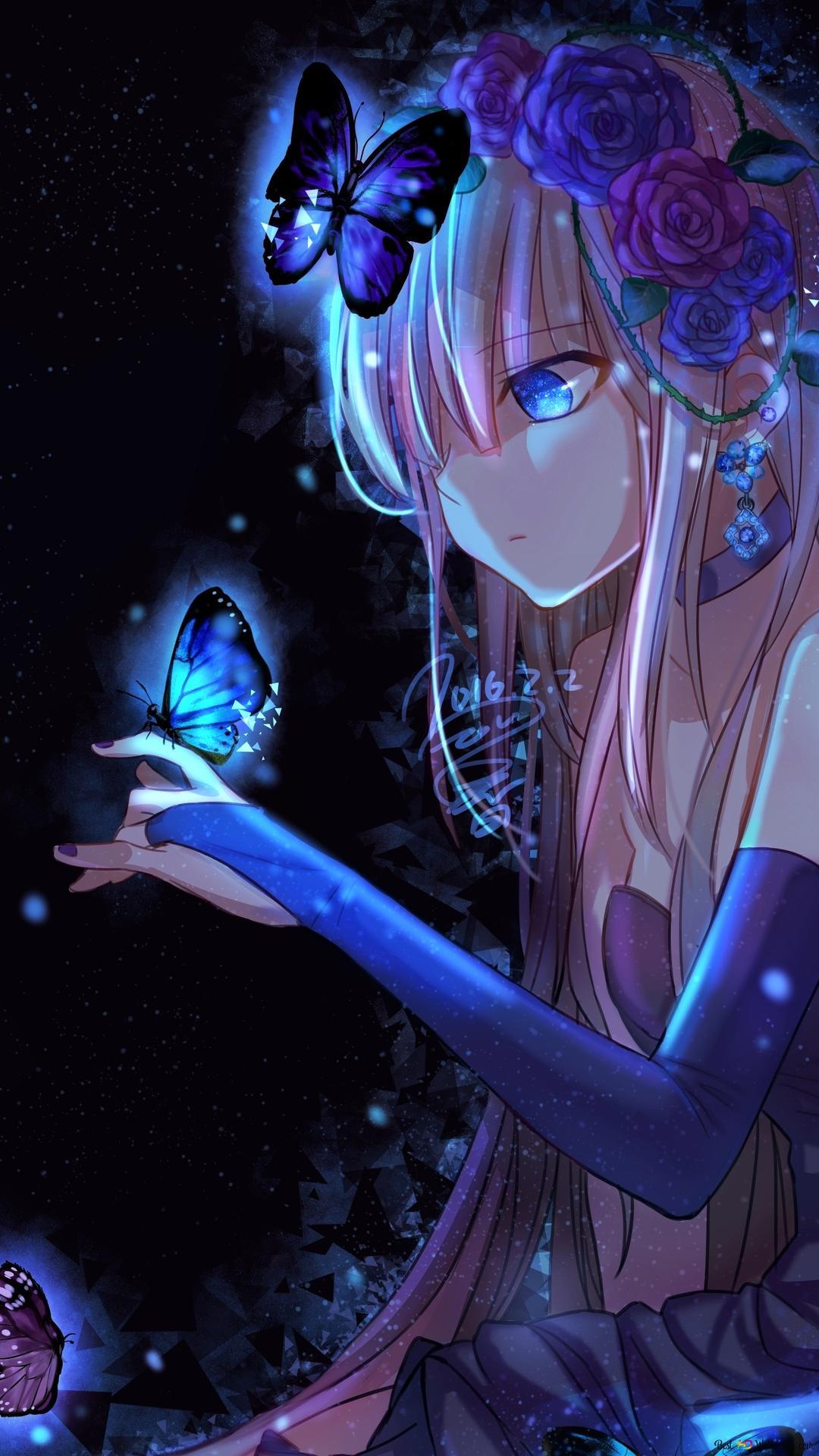アニメ少女と蝶 Hd壁紙のダウンロード