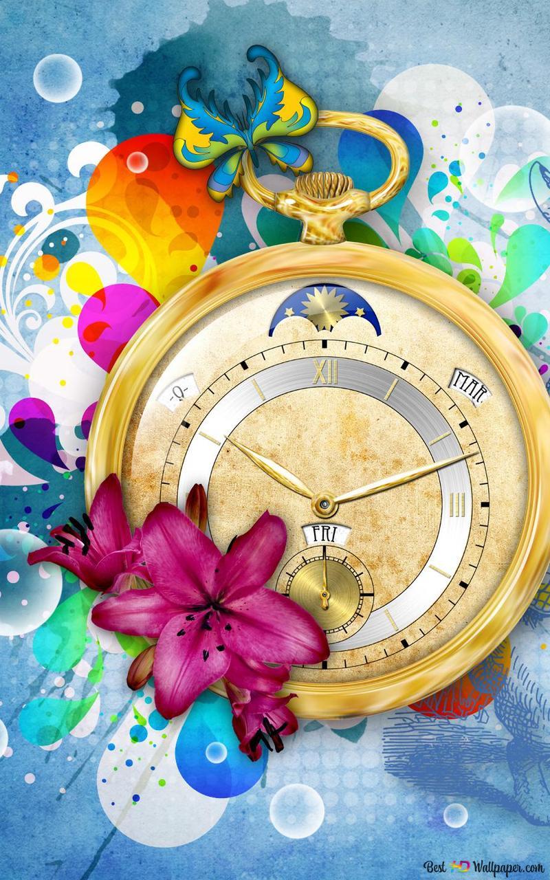 Artistic Clock Background Hd Wallpaper Download
