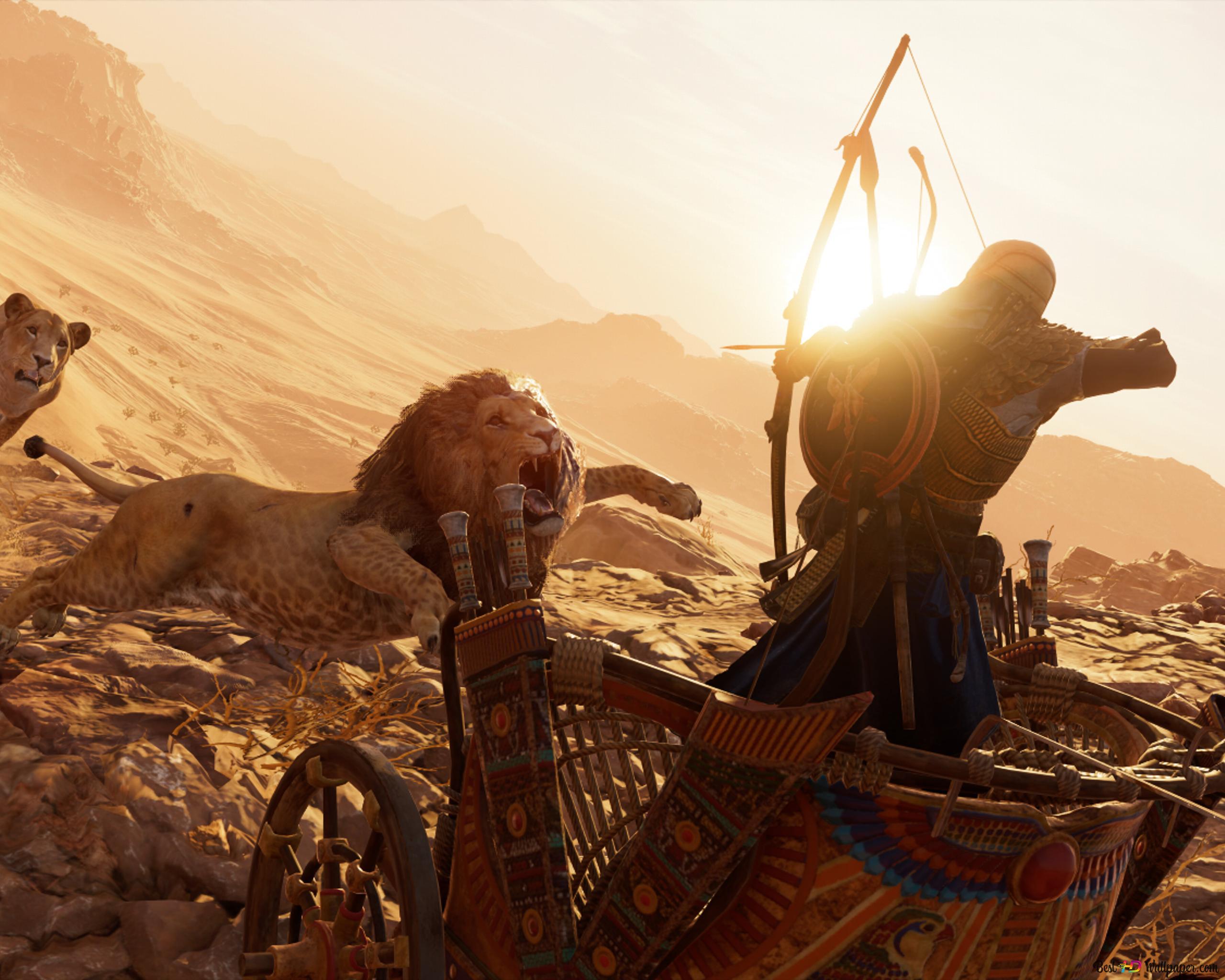 Assassin S Creed Origins Lion Attack Hd Wallpaper Download