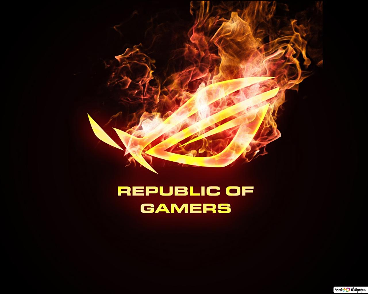 asus rog republic of gamers fire themed logo wallpaper 1280x1024 53667 32