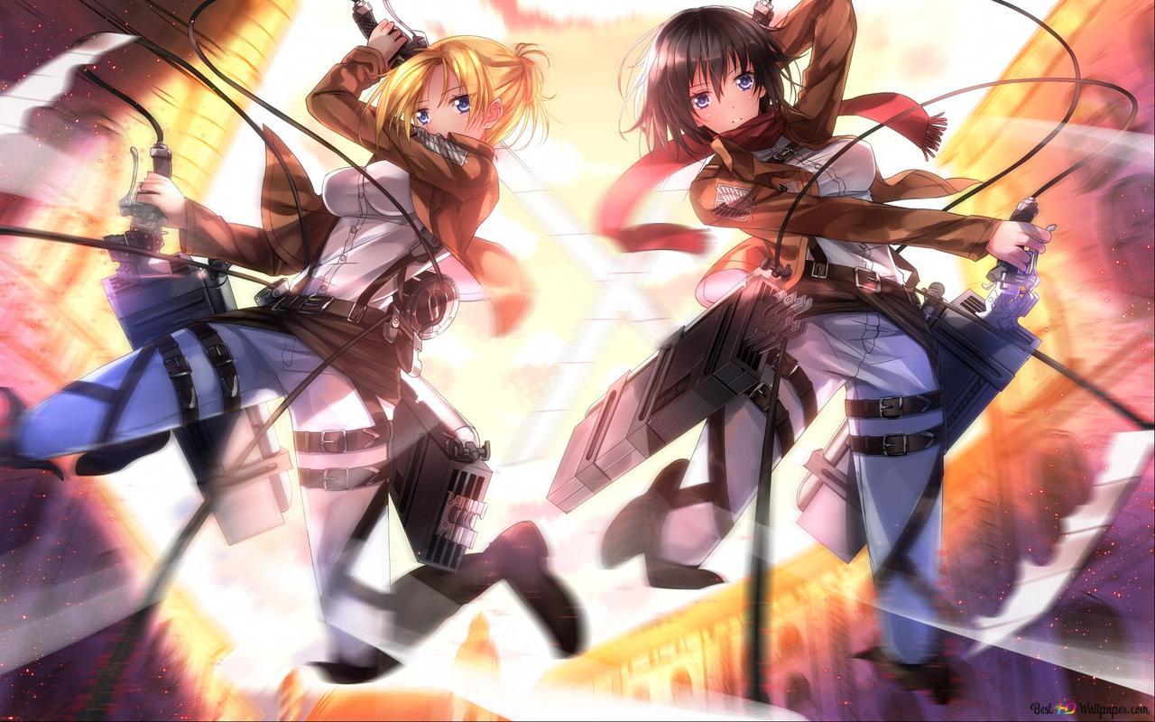 Attack On Titan Annie Leonhart Mikasa Ackerman Hd Wallpaper Download