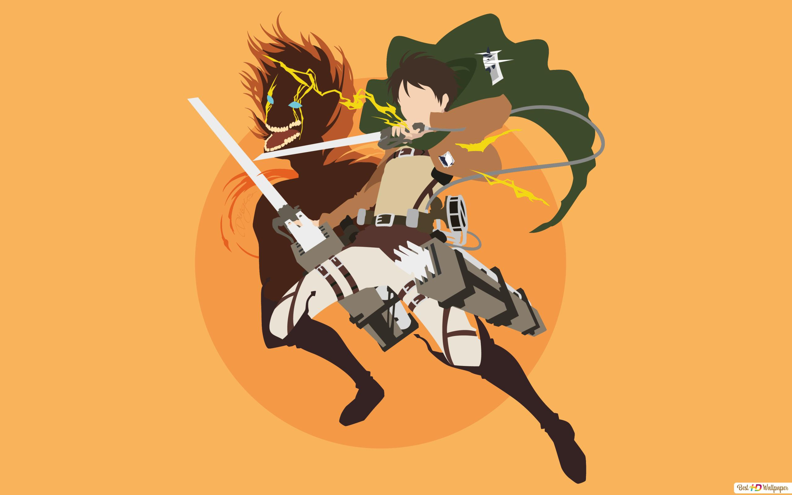 Attack On Titan Eren Yeager Minimalist Hd Wallpaper Download