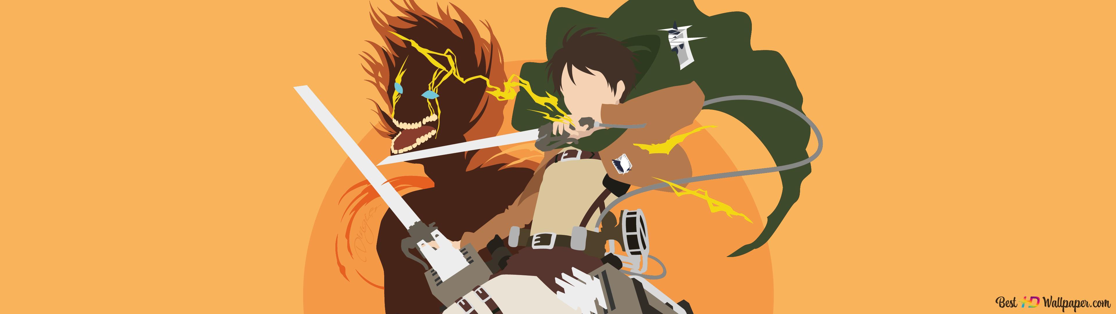 Attack On Titan Eren Yeager Minimalist Hd Wallpaper Download