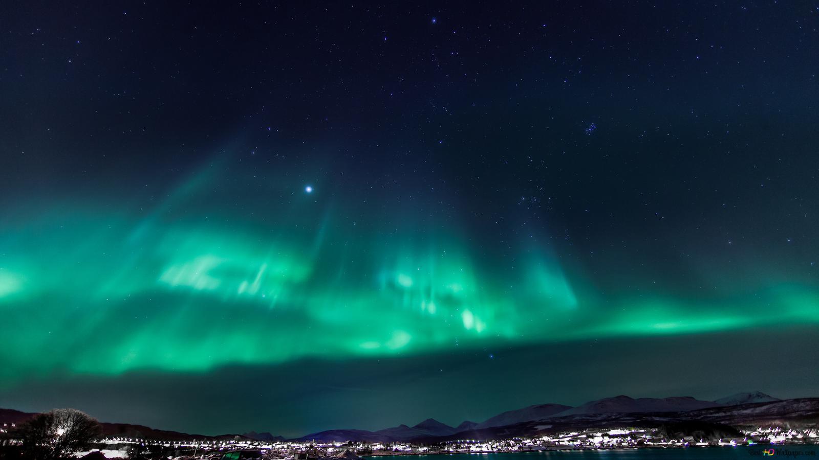Aurora Borealis Nel Cielo Stellato Download Di Sfondi Hd