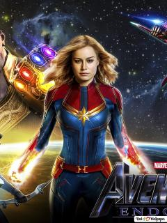 Avengers Endgame Captain Marvel With Heroes Hd Wallpaper Download