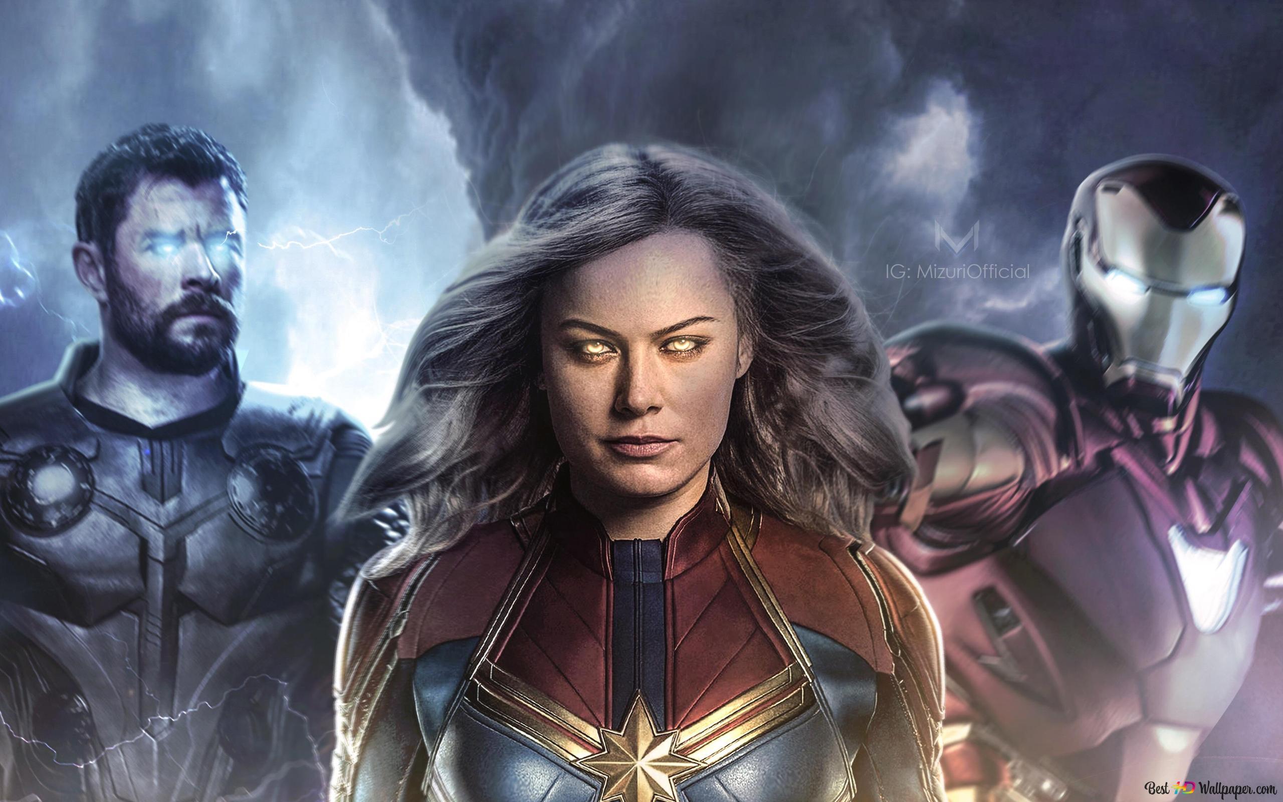 Avengers Thor Iron Man Captain Marvel Hd Wallpaper Download