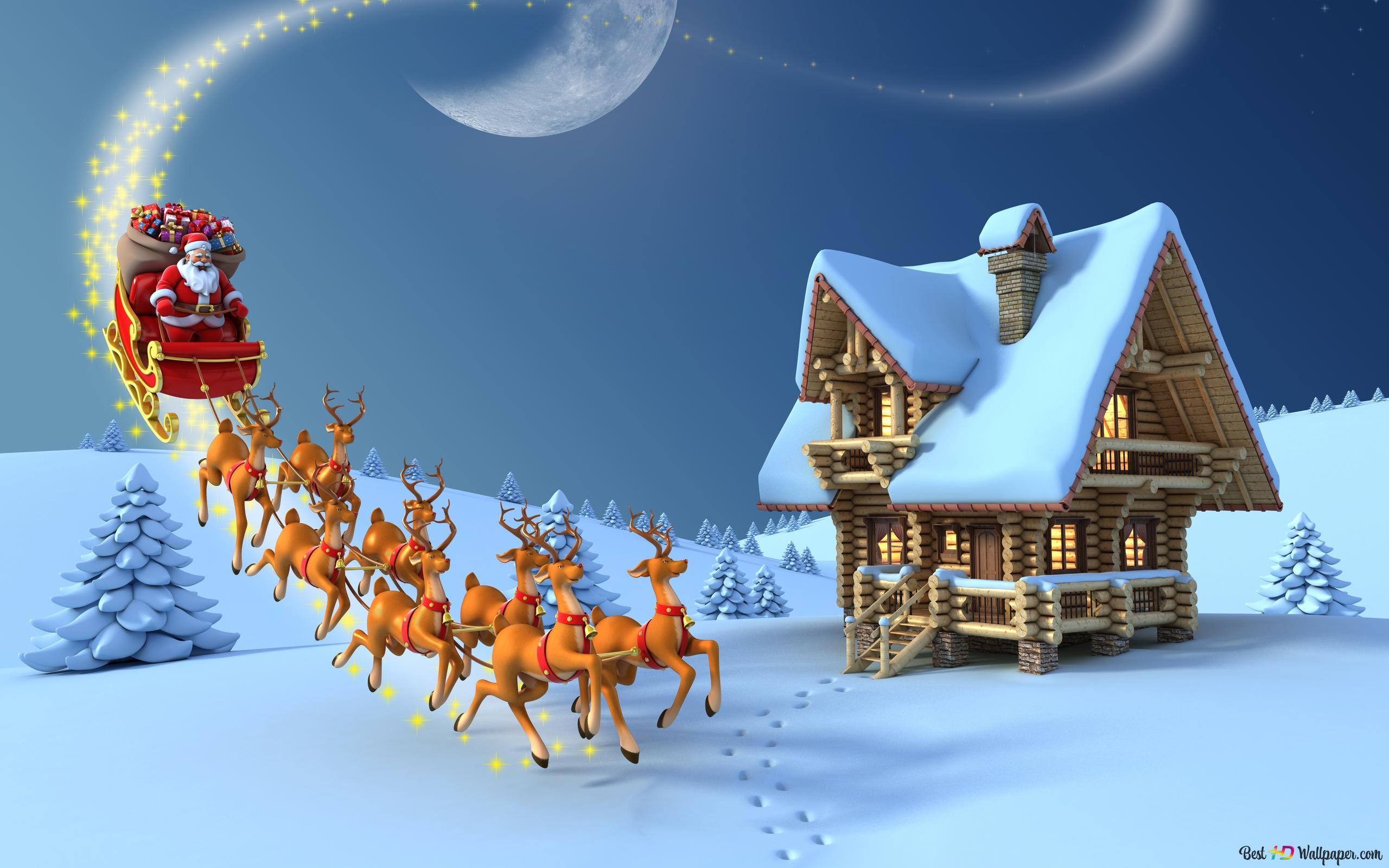 Sfondi Babbo Natale.Babbo Natale E In Citta Download Di Sfondi Hd