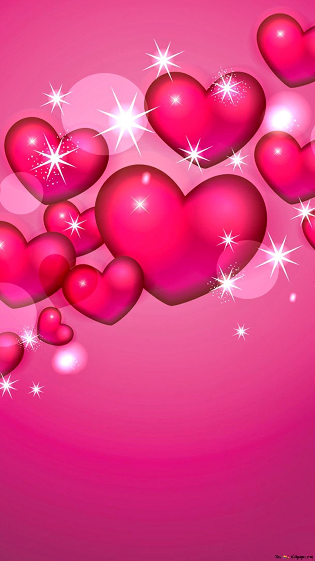 バレンタインデー 美しいピンクのハートの背景 Hd壁紙のダウンロード