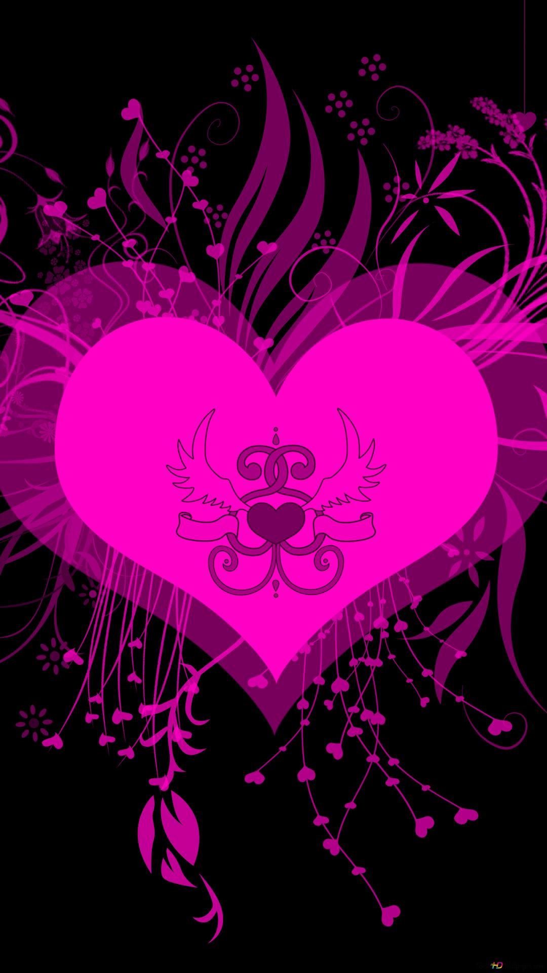 バレンタインデー ネオンピンクのハート Hd壁紙のダウンロード