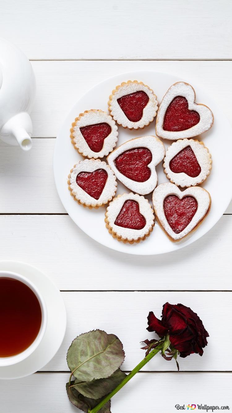 バレンタインデー お茶と心クッキー Hd壁紙のダウンロード