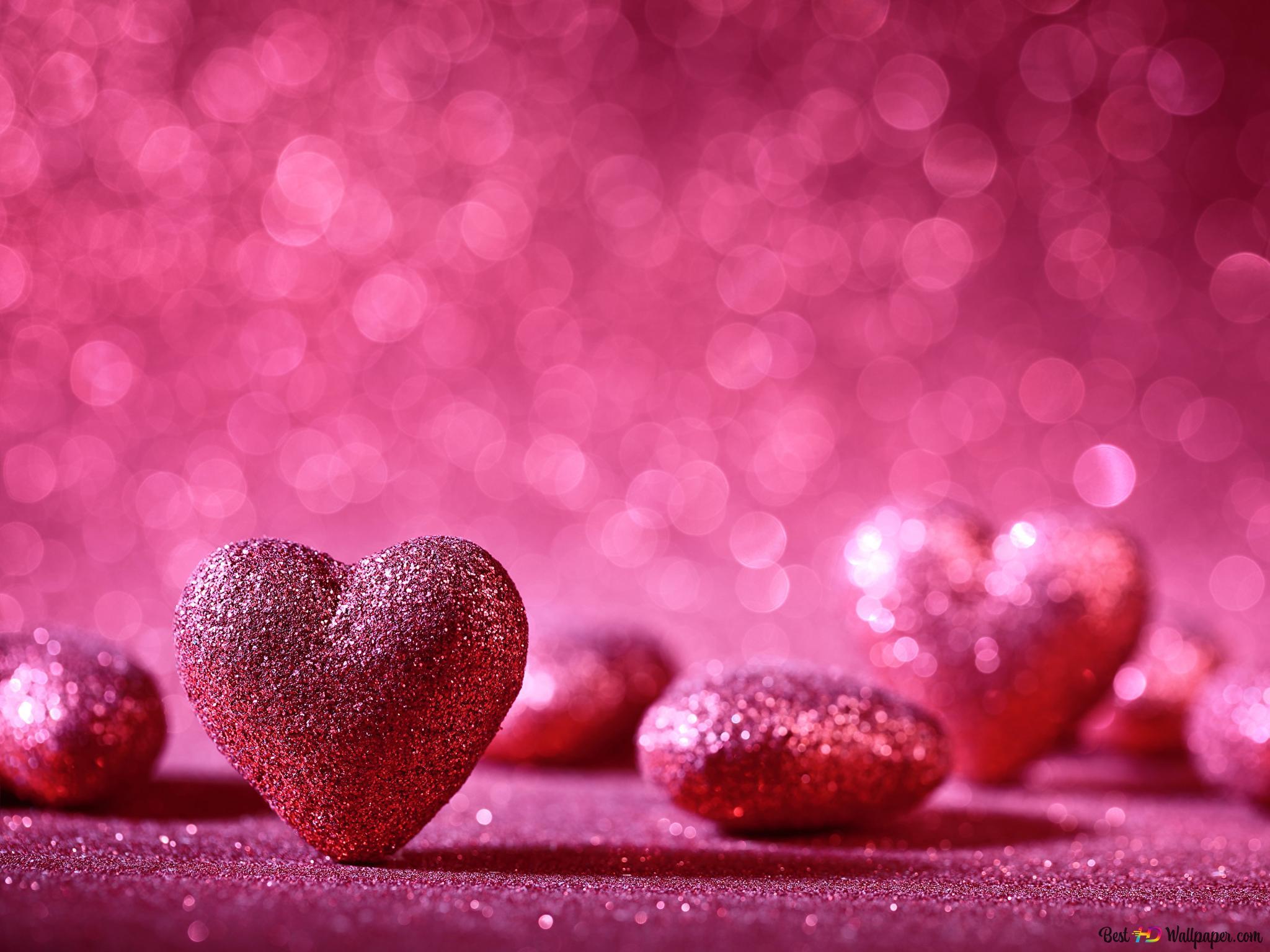 バレンタインデー ピンク輝くハート Hd壁紙のダウンロード