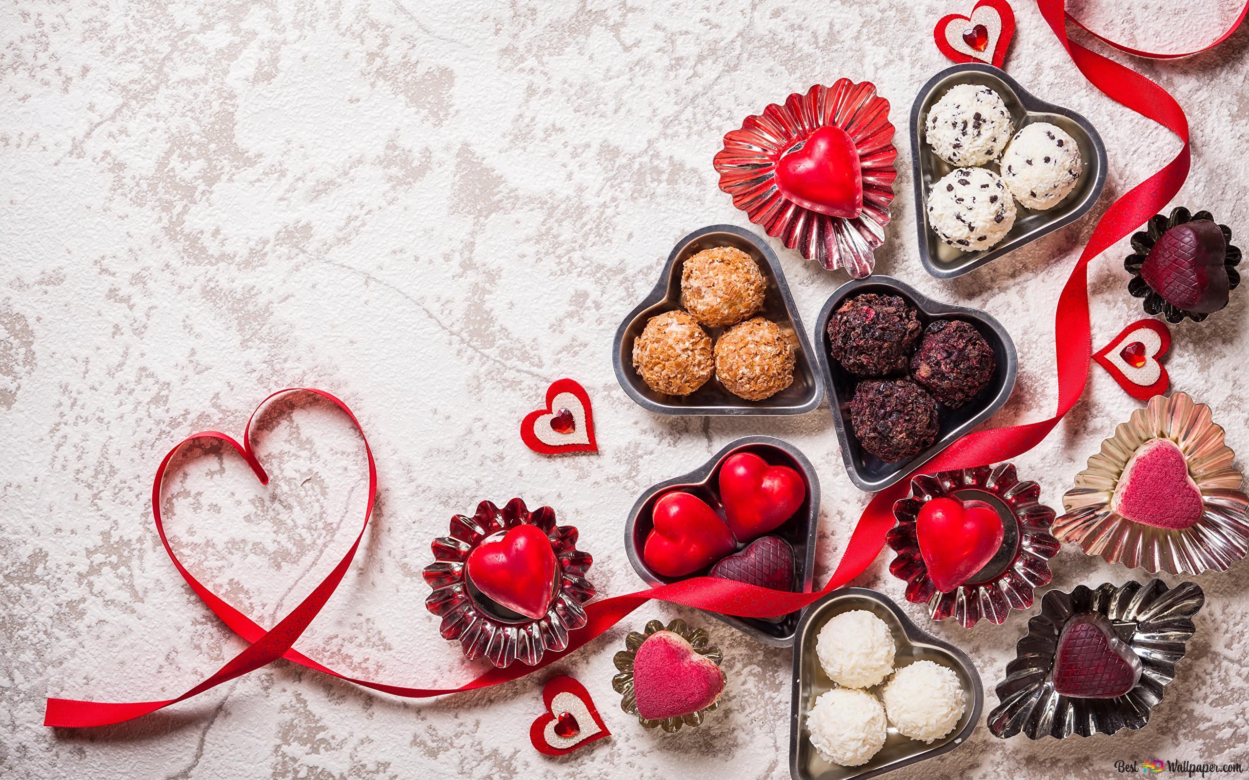 バレンタインデー 素敵なハートのチョコレートのデコレーション Hd