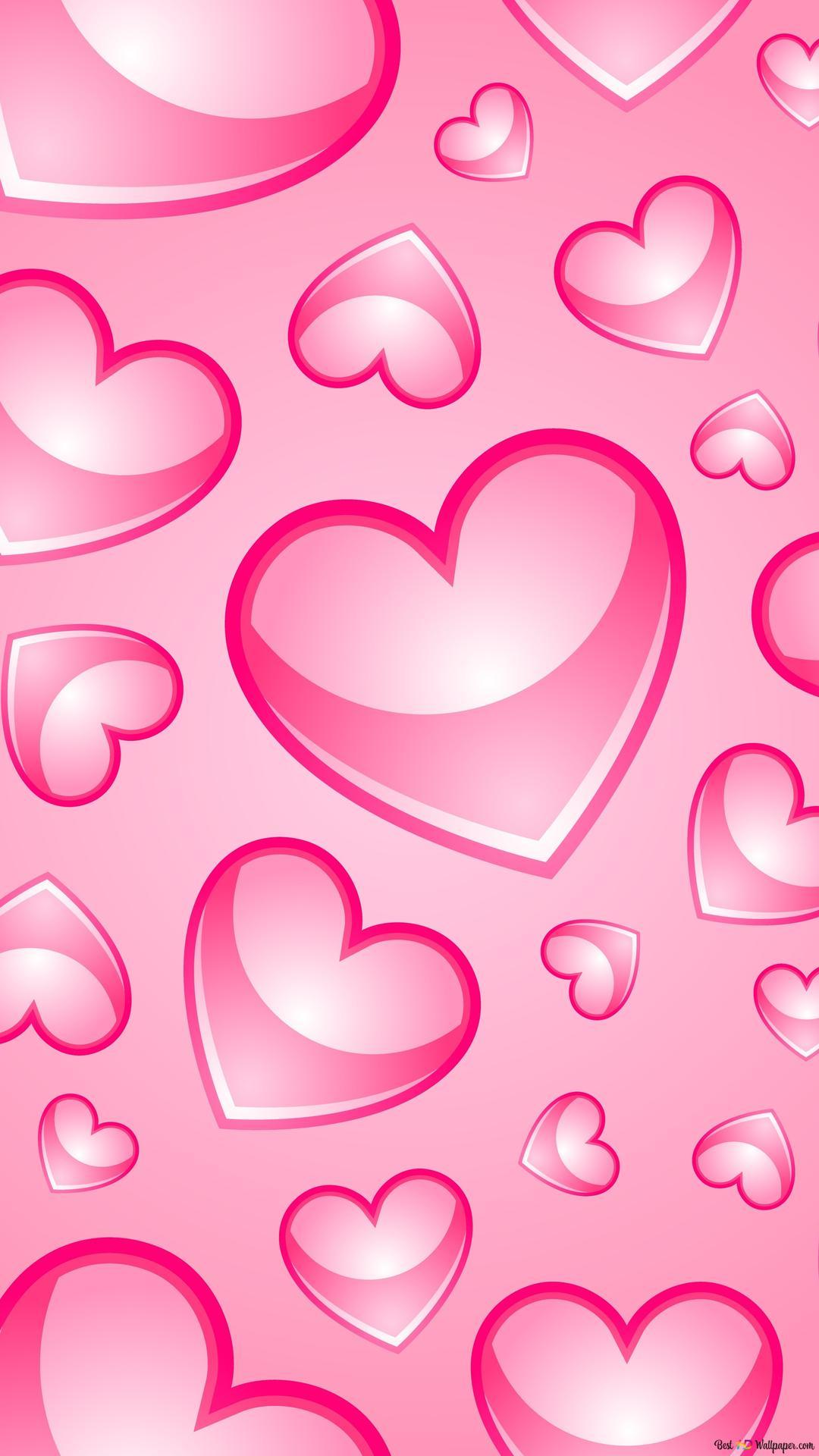 バレンタインデー 素敵なピンクのハートの芸術 Hd壁紙のダウンロード