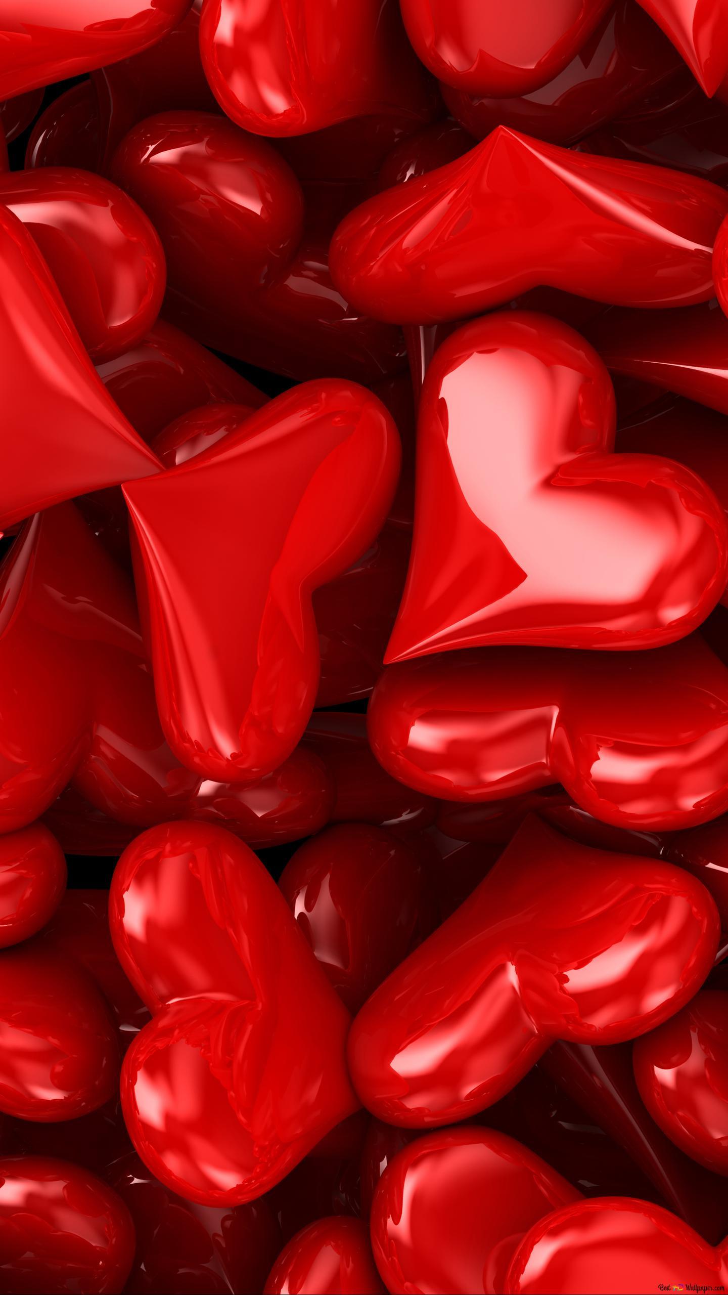 バレンタインデー 芸術的赤いハートのキャンディー Hd壁紙のダウンロード
