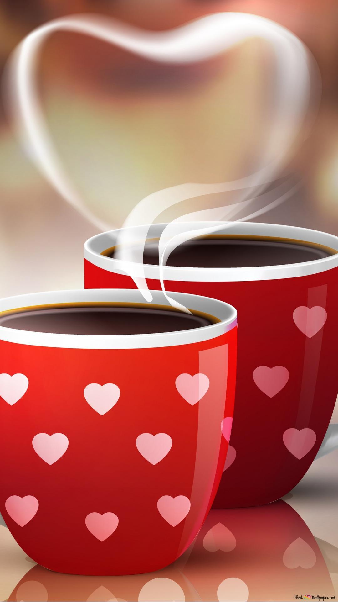 バレンタインデー 芸術的コーヒーカップ Hd壁紙のダウンロード