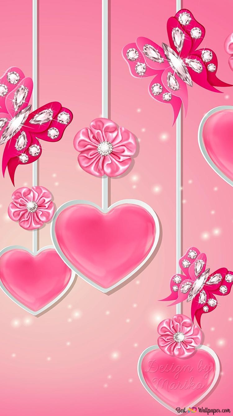 バレンタインデー 芸術的ピンク吊りハート Hd壁紙のダウンロード