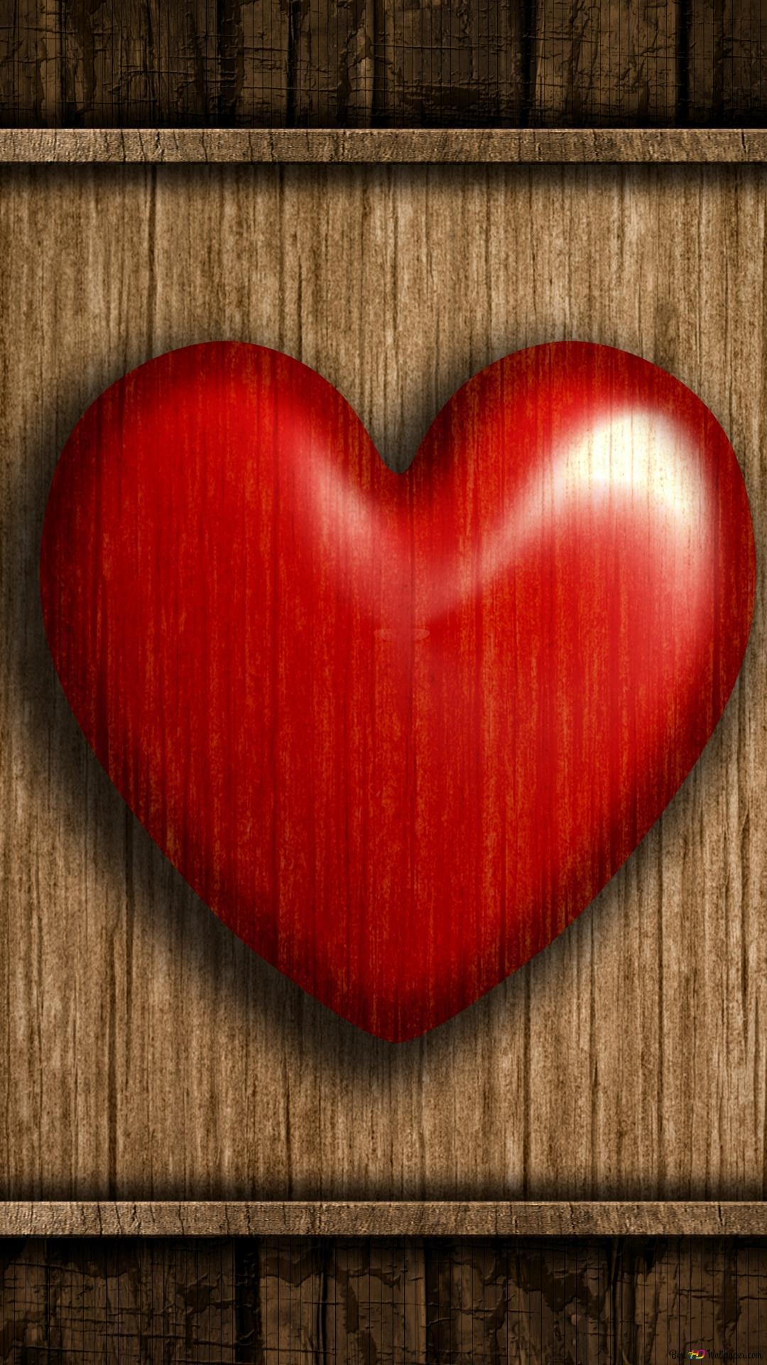 バレンタインデー 芸術の木製の赤いハート Hd壁紙のダウンロード