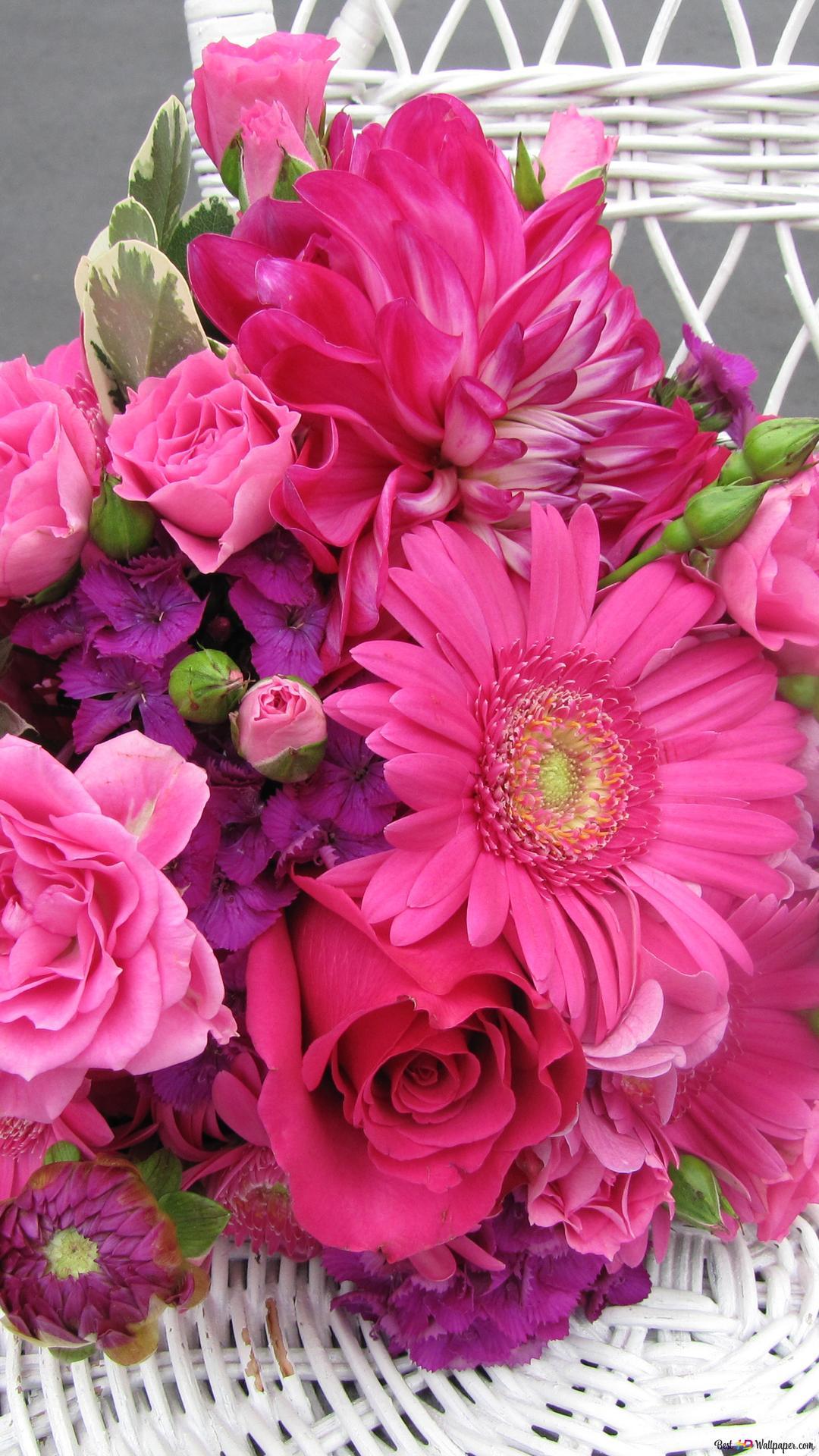 バレンタインの日 ピンクの花の花束 Hd壁紙のダウンロード