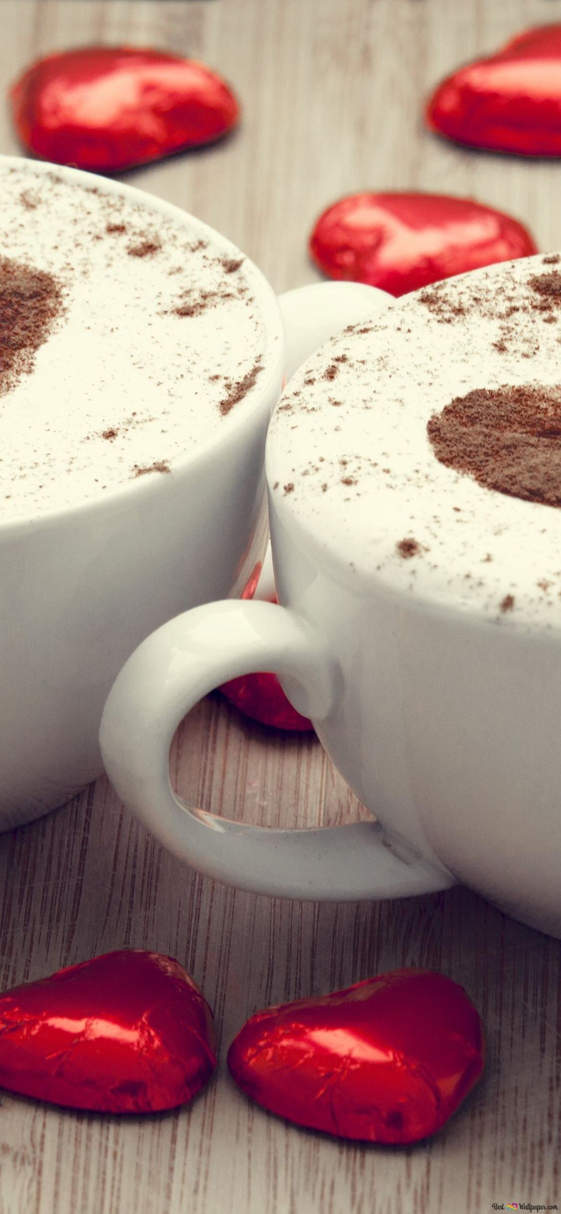 バレンタインの日 心のクレマコーヒー Hd壁紙のダウンロード