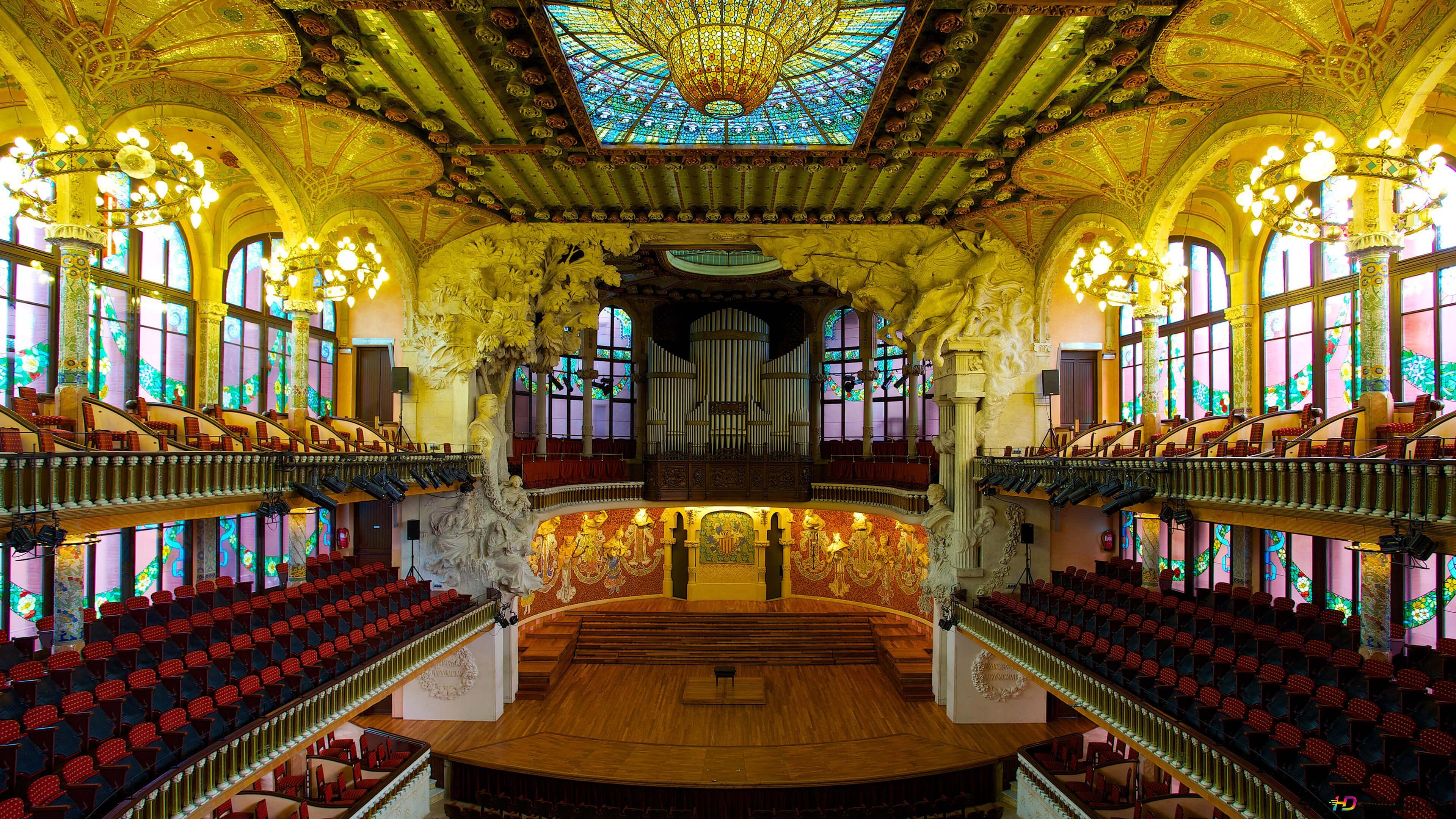 バルセロナ スペインの音楽宮殿内部 Hd壁紙のダウンロード