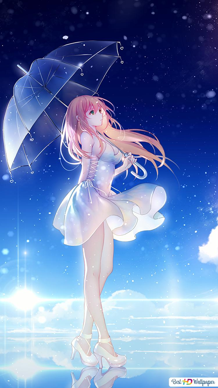 Beautiful Anime Girl In The Night Hd Wallpaper Download