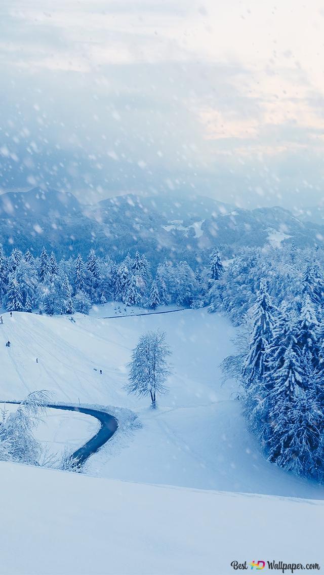 Beautiful Snowfall Background Hd Wallpaper Download