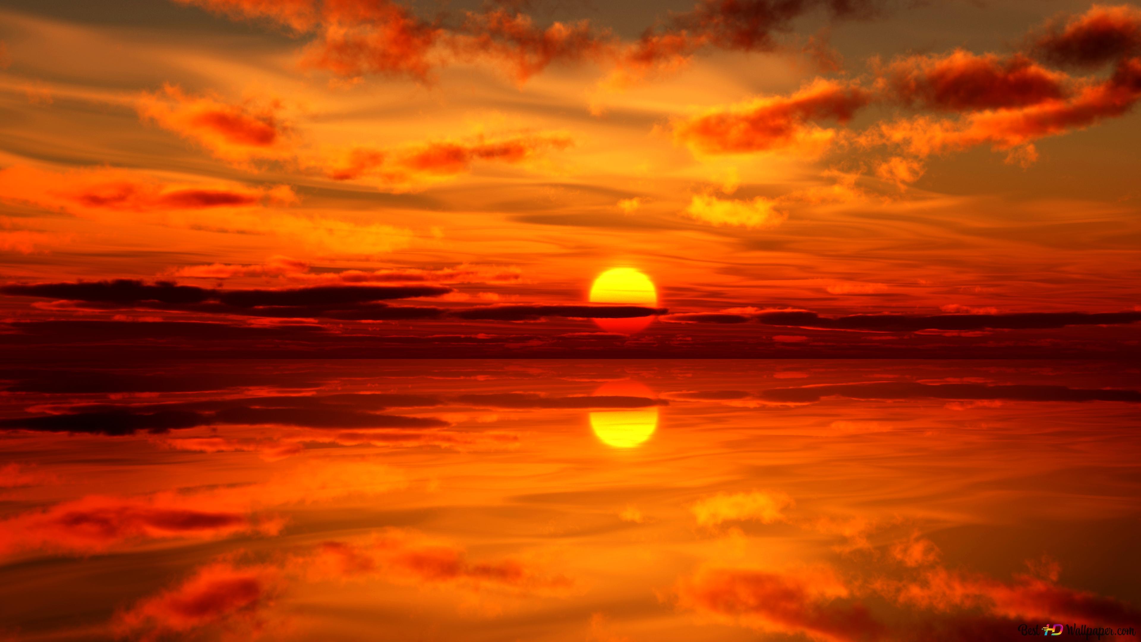 Beautiful Sunset And Reflection Hd Wallpaper Download