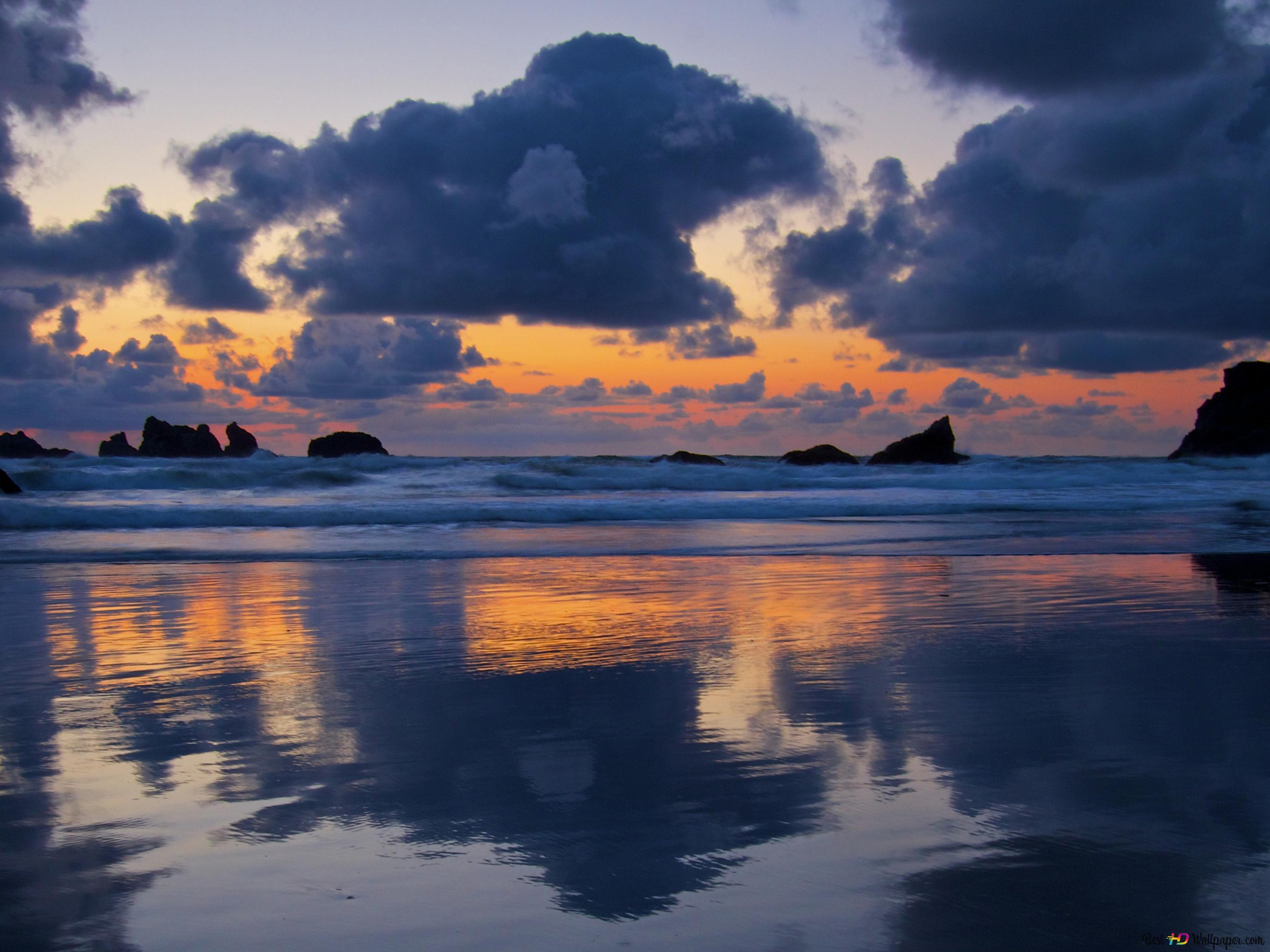 Bewolkt weer in beach HD wallpaper
