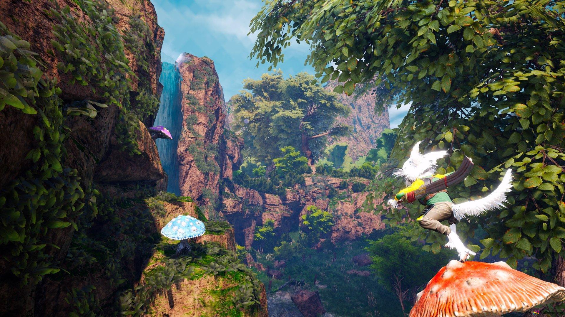 Biomutant Wasserfall Und Natur Hd Hintergrundbilder