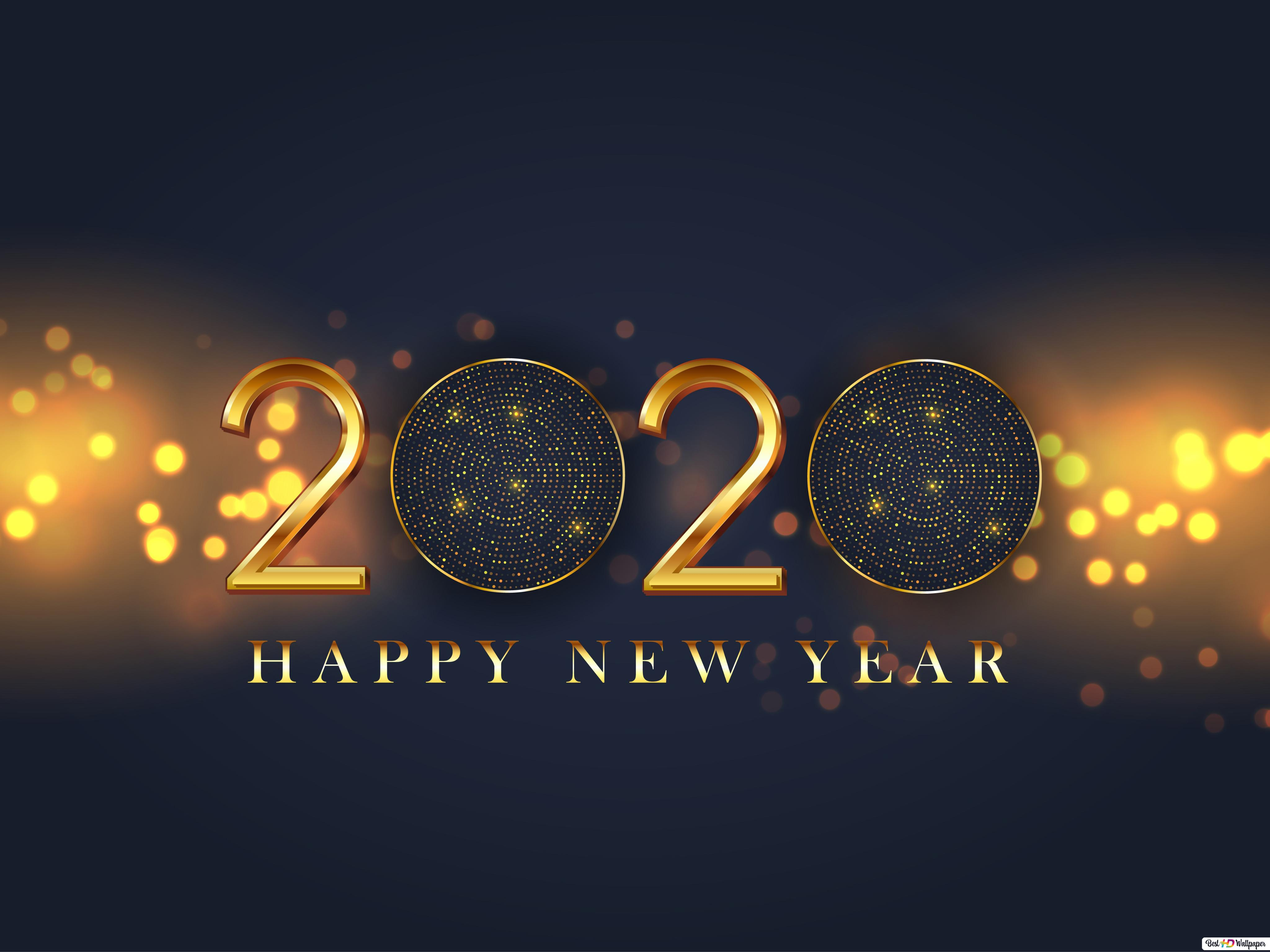 Black And Gold 2020 Greetings With Golden Lights Background Hd