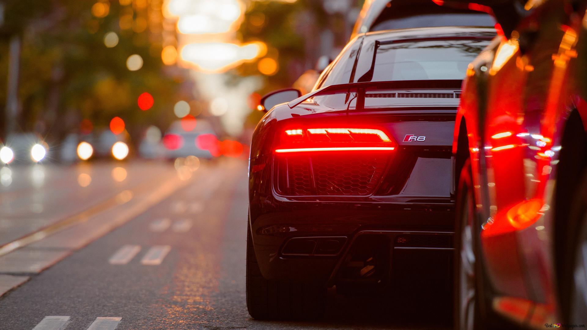 Black Audi R8 Parked Beside Road Hd Wallpaper Download