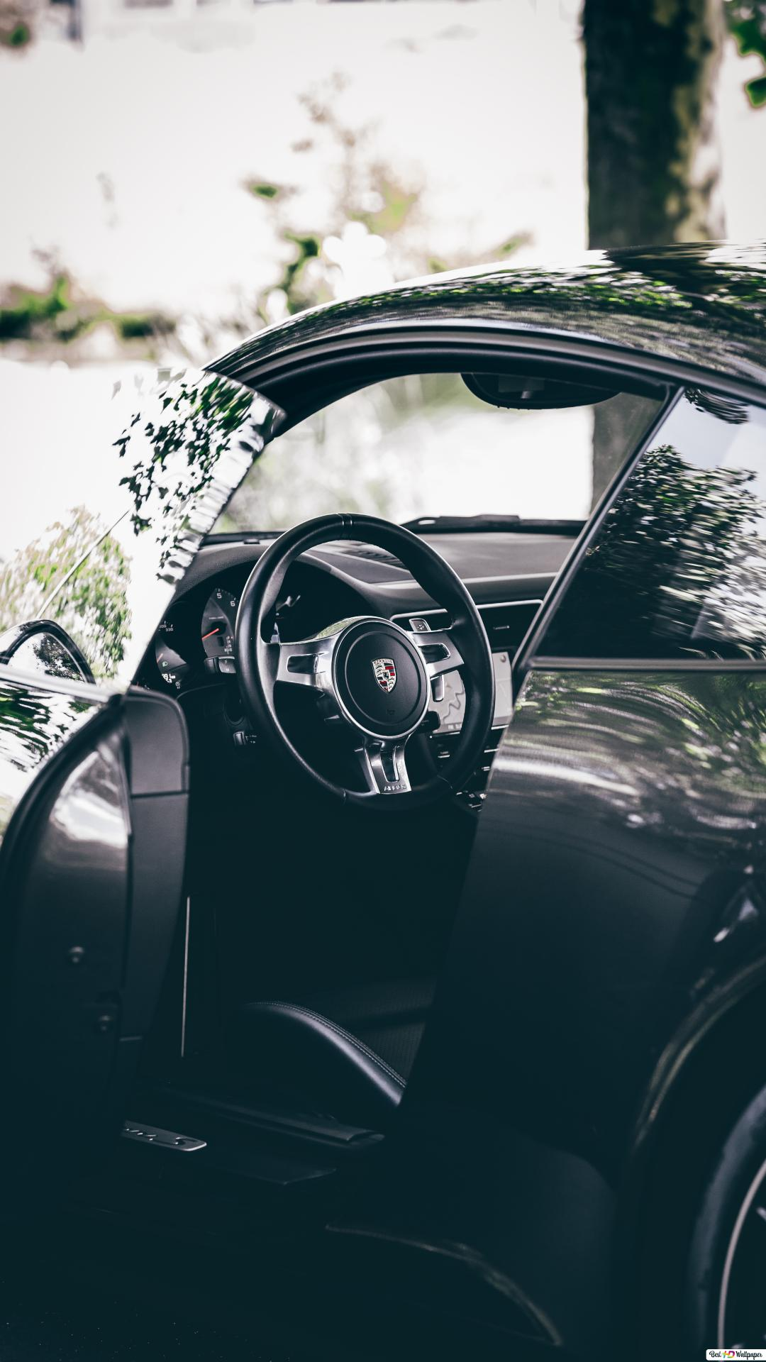 Black Porsche 911 sports car opened during daytime HD