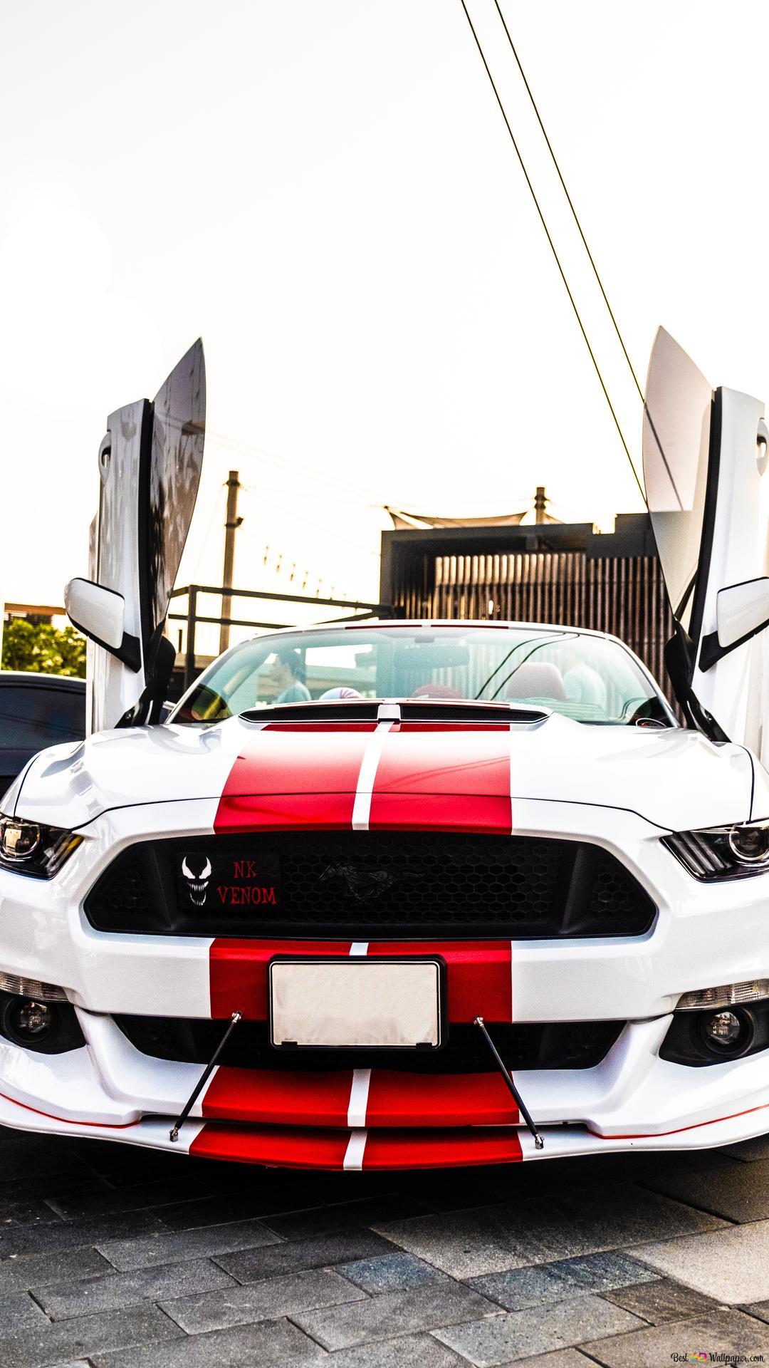 Descargar Fondo De Pantalla Blanco Y Rojo Ford Mustang Hd