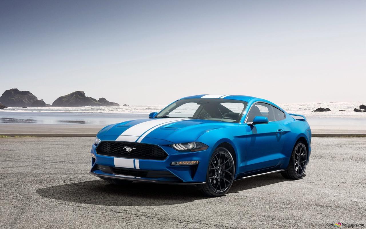 Blauwe Ford Mustang HD wallpaper downloaden