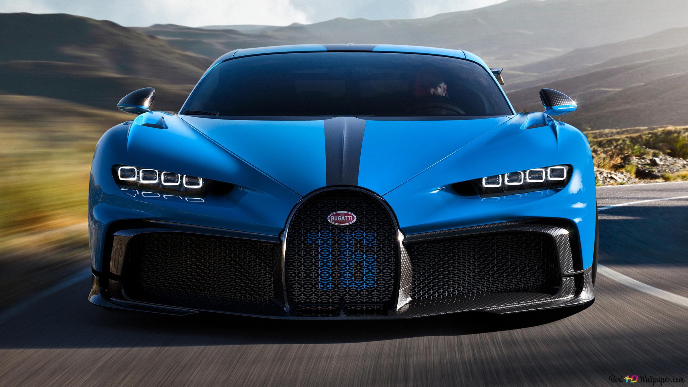 Blue Bugatti Chiron Front Side View Hd Wallpaper Download