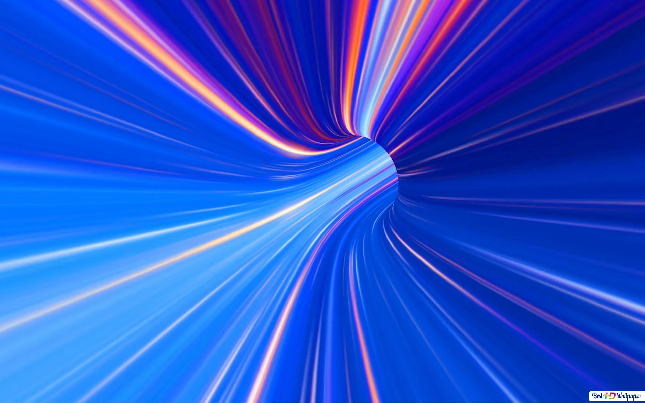 Blue Spectrum Tunnel Hd Wallpaper Download