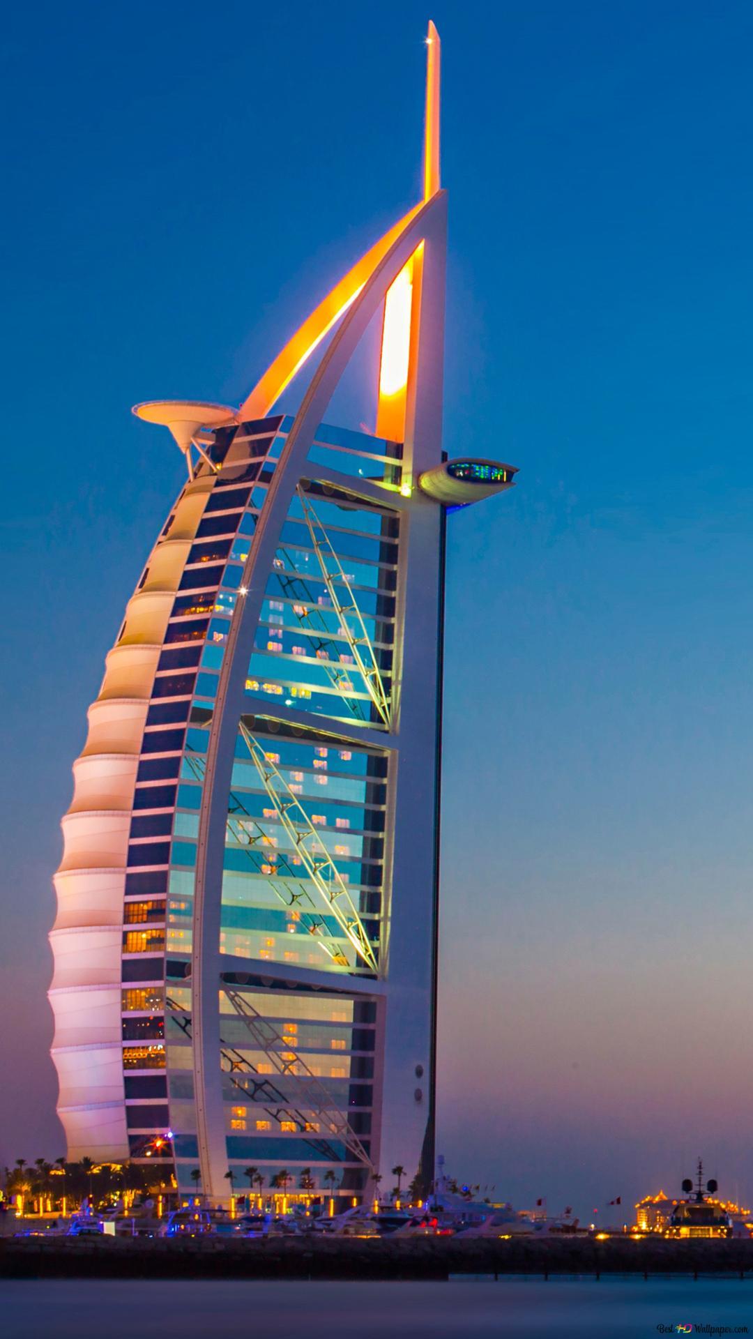 Burj Al Arab W Dubaju Zjednoczone Emiraty Arabskie W Nocy