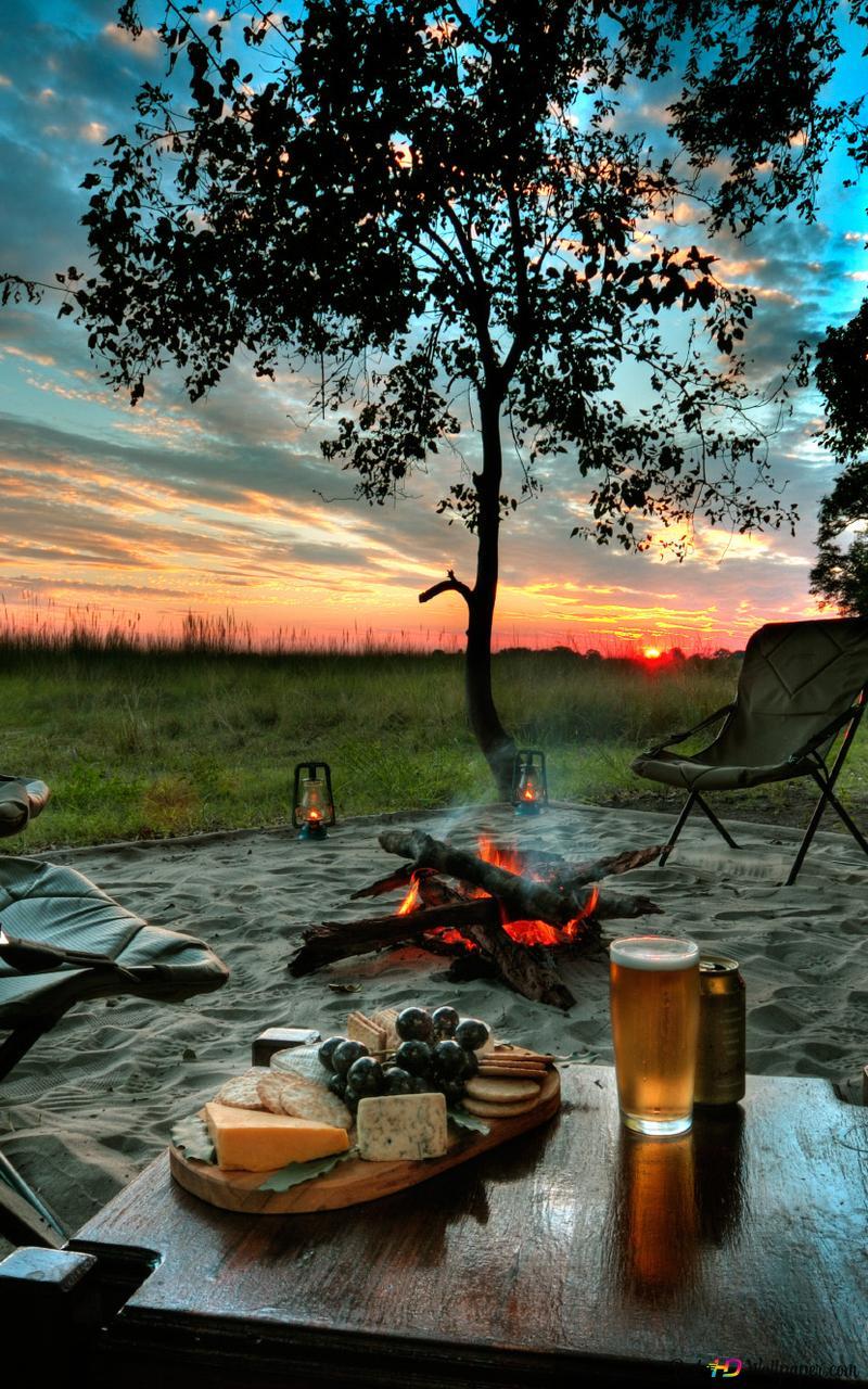 Camping At Sunset Hd Wallpaper Download