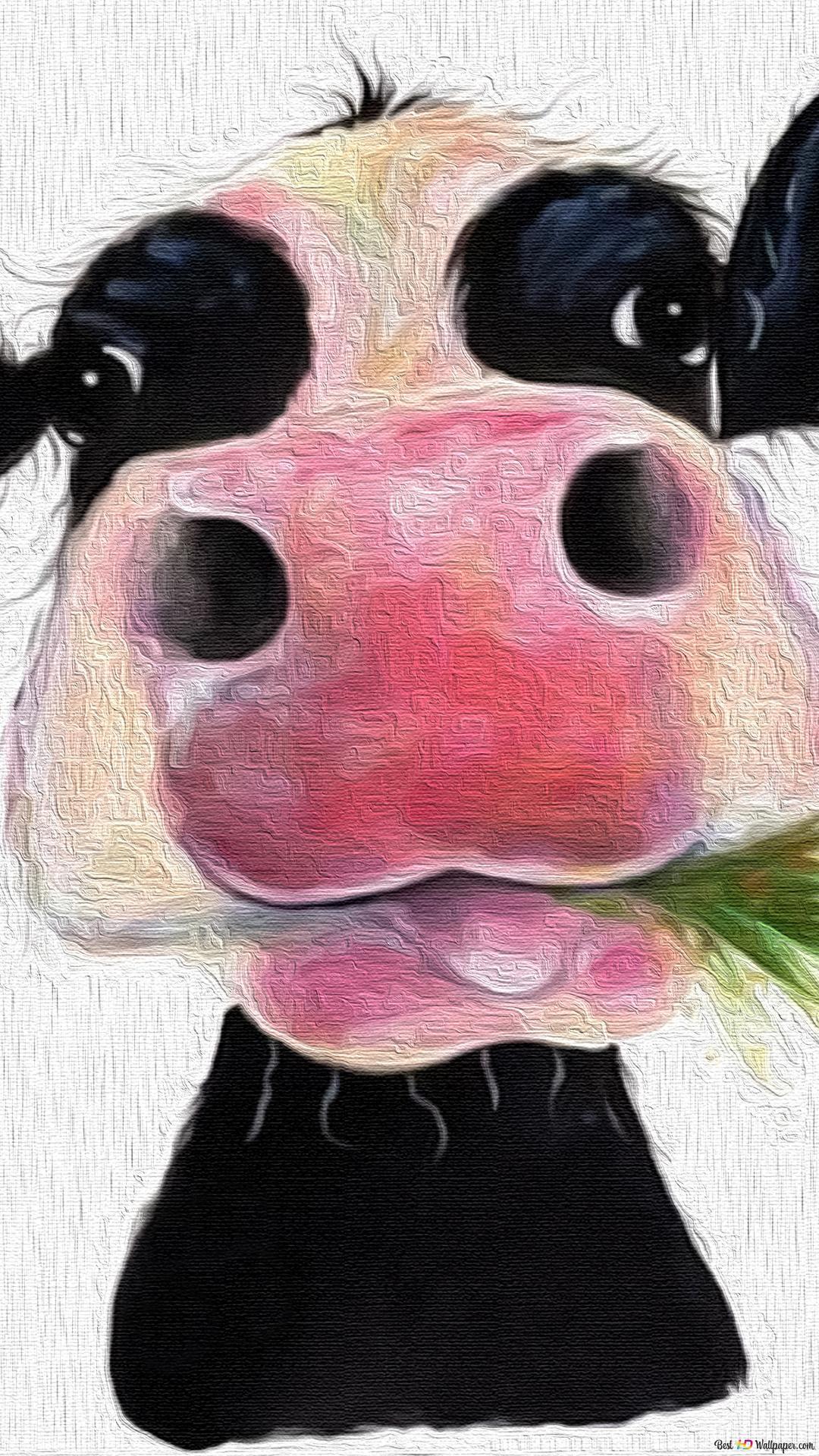 草を食べる牛の芸術の絵画 Hd壁紙のダウンロード