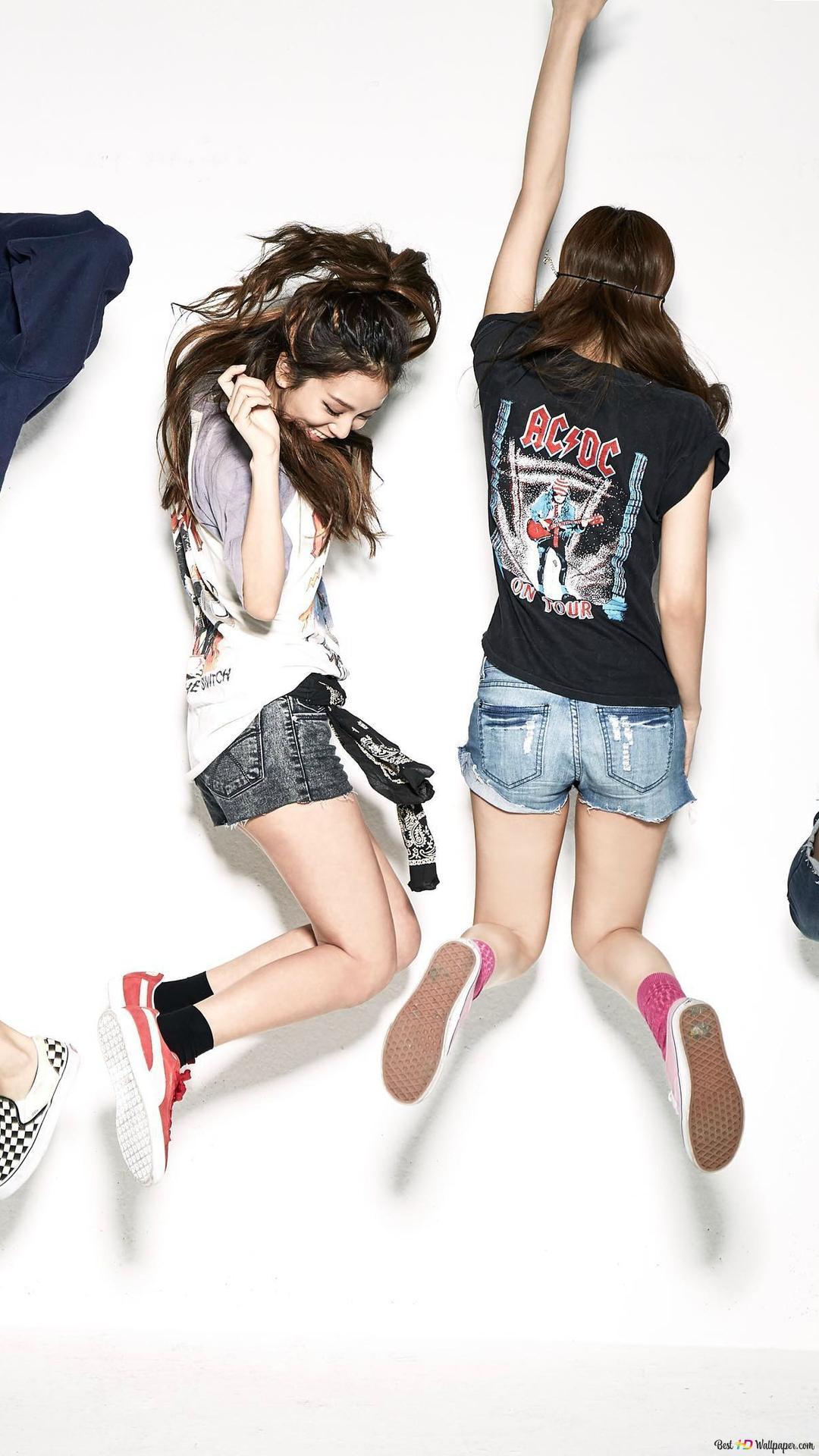 Cheerful Blackpink Members Lisa Jisoo Jennie And Rose Hd Wallpaper Download